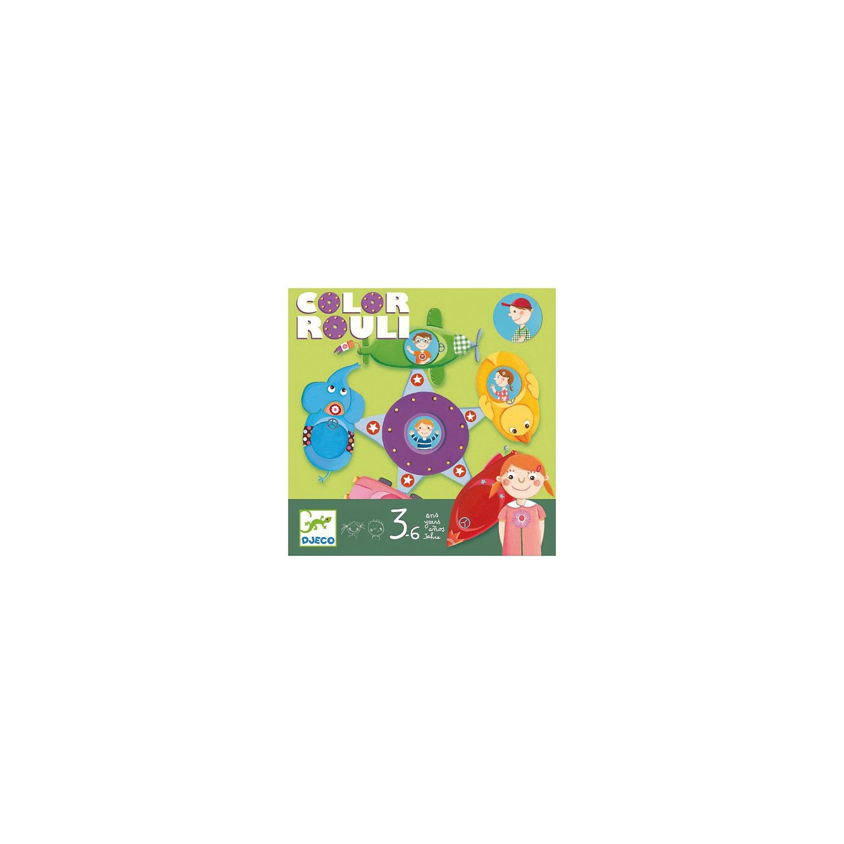Настольная игра Цветное путешествие, DJECOИгры для развлечений<br>Цветное путешествие DJECO (Джеко)  - занимательная игра, которая увлечет компанию маленьких друзей. Перед началом игры раскладывается игровое поле - красочная карусель. Каждому игроку дается фишка с изображением мальчика или девочки. Игроки бросают кубик на котором обозначены цвета соответствующие местам на карусели и пытаются попасть на свое место. Цель игры - поместить свою фишку на карусель, участник, который первым попал на карусель становится победителем.<br><br>Дополнительная информация:<br><br>- В наборе: 1 игровой кубик, 1 игровое поле, 6 фишек.<br>- Материал: трехслойный картон.<br>- Размер упаковки: 21,4 х 21,4 х 5,5 см.<br>- Вес: 0,43 кг. <br><br>Настольную игру Цветное путешествие DJECO (Джеко) можно купить в нашем магазине.<br><br>Ширина мм: 210<br>Глубина мм: 210<br>Высота мм: 55<br>Вес г: 400<br>Возраст от месяцев: 36<br>Возраст до месяцев: 72<br>Пол: Унисекс<br>Возраст: Детский<br>SKU: 3193432