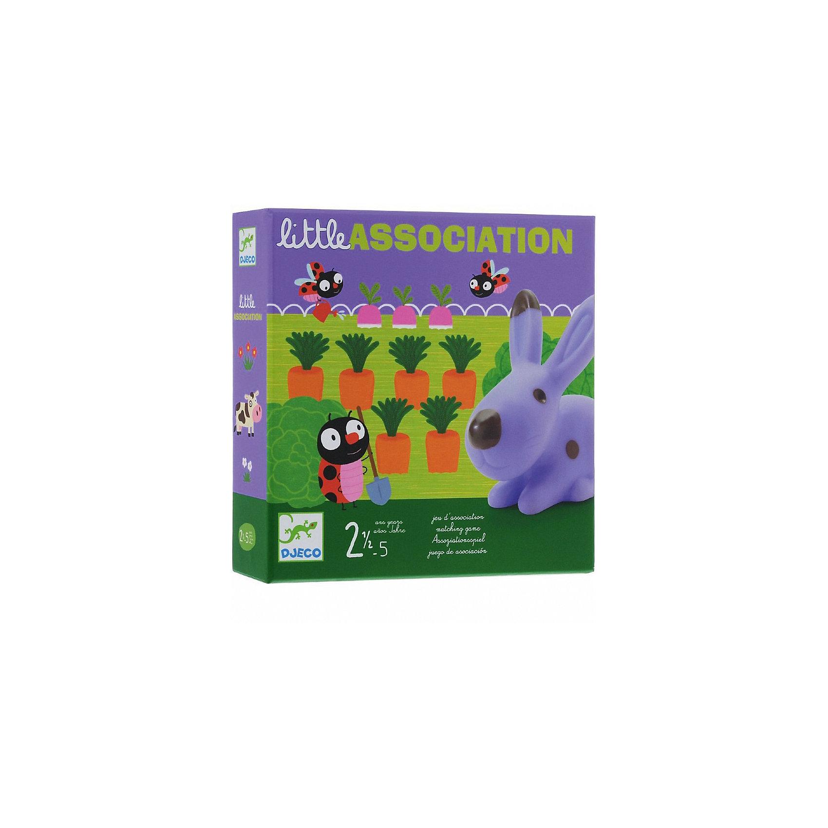 Игра на ассоциации Зверята, DJECOРазвивающие игры<br>Игра на ассоциации «Зверята» - отличная игра для малышей на развитие реакции и ассоциативного мышления. <br><br>Корова живет на лугу, лягушка в пруду, кролик в огороде. Цель игры - поставить героя (кролика, лягушку или корову) на соответствующее поле (луг, пруд или огород), на это указывают изображения на карточках. Если выпадает морковка, значит кролика нужно посадить в огород, только сделать это нужно быстро, а то кто-нибудь может оказаться проворнее. <br><br>Дополнительная информация:<br><br>- В комплекте: 3 персонажа (резиновые животные), 3 карточки с пейзажем, карточки с картинками.<br><br>Игру на ассоциации Зверята, DJECO (Джеко) можно купить в нашем магазине.<br><br>Ширина мм: 220<br>Глубина мм: 220<br>Высота мм: 50<br>Вес г: 770<br>Возраст от месяцев: 24<br>Возраст до месяцев: 60<br>Пол: Унисекс<br>Возраст: Детский<br>SKU: 3193448