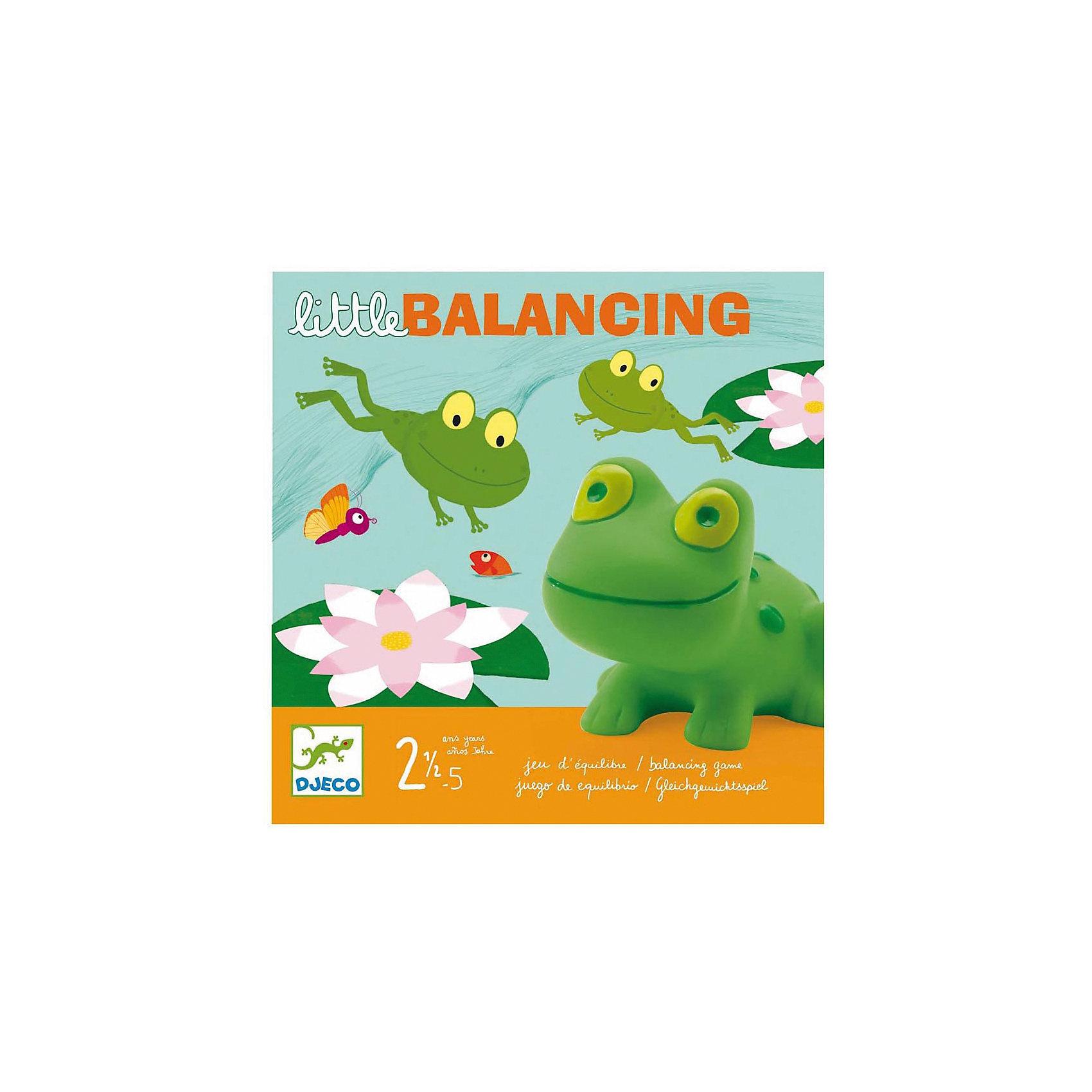 Настольная игра Лягушачий балансир, DJECOИгры для развлечений<br>Увлекательная настольная игра Лягушачий балансир DJECO идеально подходит для совместного времяпрепровождения с ребенком. В наборе игровое поле-пруд, где прыгают забавные зеленые лягушата, нужно помочь им забраться на кувшинки. Игра очень азартная, способствует концентрации внимания, аккуратности и ловкости. <br><br>Дополнительная информация:<br><br>- В комплект входит: игровое поле, карточки-кувшинки, лягушата.<br>- Материал: ПВХ, картон.<br>- Размер упаковки: 21,5 х 21,5 х 5 см.<br>- Вес: 0.560 кг. <br><br>Настольную игру Лягушачий балансир DJECO можно купить в нашем магазине.<br><br>Ширина мм: 220<br>Глубина мм: 220<br>Высота мм: 50<br>Вес г: 560<br>Возраст от месяцев: 24<br>Возраст до месяцев: 60<br>Пол: Унисекс<br>Возраст: Детский<br>SKU: 3193449