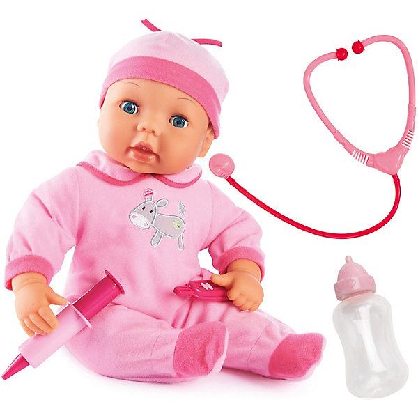 Игровой набор Малыш у Доктора 38 смКуклы<br>Игровой набор Малыш у доктора от бренда Bayer(Байер) непременно порадует вашего ребенка. У куклы покраснели щечки? Это значит, что поднялась температура и нужно срочно сделать укол. Стетоскопом можно послушать как бьется сердечко малышки, а бутылочкой - покормить. При этом малышка будет издавать очень реалистичные звуки. Кукла одета в розовый комбинезон и шапочку.<br><br>Дополнительная информация:<br>В комплекте: кукла, стетоскоп, шприц, градусник<br>Высота: 38 см<br>Вес: 900 грамм<br>Материал: пластик, текстиль<br><br>Приобрести игровой набор Малыш у доктора Bayer(Байер) можно в нашем интернет-магазине.<br><br>Ширина мм: 365<br>Глубина мм: 302<br>Высота мм: 134<br>Вес г: 930<br>Возраст от месяцев: 24<br>Возраст до месяцев: 60<br>Пол: Женский<br>Возраст: Детский<br>SKU: 3195669