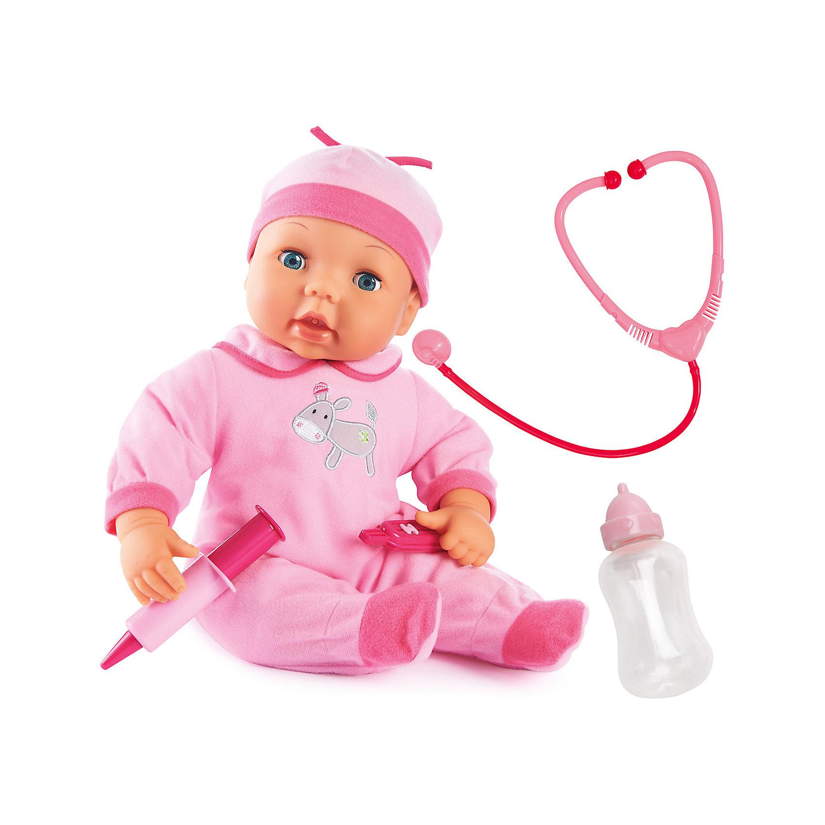 Игровой набор Малыш у Доктора 38 смБренды кукол<br>Игровой набор Малыш у доктора от бренда Bayer(Байер) непременно порадует вашего ребенка. У куклы покраснели щечки? Это значит, что поднялась температура и нужно срочно сделать укол. Стетоскопом можно послушать как бьется сердечко малышки, а бутылочкой - покормить. При этом малышка будет издавать очень реалистичные звуки. Кукла одета в розовый комбинезон и шапочку.<br><br>Дополнительная информация:<br>В комплекте: кукла, стетоскоп, шприц, градусник<br>Высота: 38 см<br>Вес: 900 грамм<br>Материал: пластик, текстиль<br><br>Приобрести игровой набор Малыш у доктора Bayer(Байер) можно в нашем интернет-магазине.<br><br>Ширина мм: 365<br>Глубина мм: 302<br>Высота мм: 134<br>Вес г: 930<br>Возраст от месяцев: 24<br>Возраст до месяцев: 60<br>Пол: Женский<br>Возраст: Детский<br>SKU: 3195669