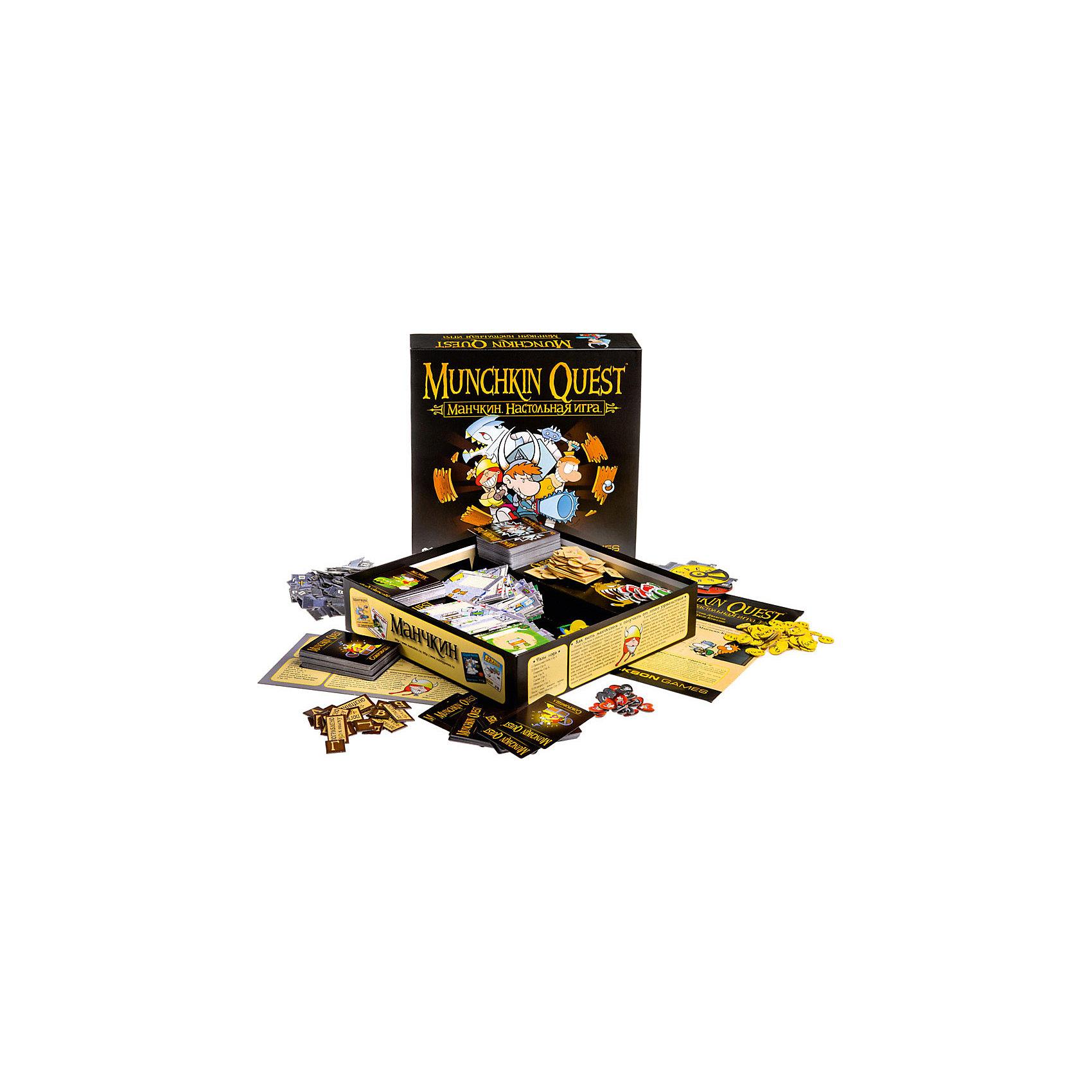 Манчкин Квест, Hobby WorldНастольная игра «Манчкин Квест» - это приключенческая игра для 2-4 игроков, в которой вам предстоит отправиться всем вместе в подземелье, странствовать по нему в поисках приключений, монстров и сокровищ, попытаться прокачаться до 10-го уровня персонажа быстрее, чем это сделают ваши соперники и пробить себе выход наружу! <br><br>«Манчкин Квест» - это логическое продолжение и развитие другой культовой карточной игры Стива Джексона - «Манчкин»  Игра, прежде всего, сохранила свой неповторимый пародийный юмор и графический дизайн, общую концепцию и большинство механик, как смывка или непотребства от монстров. Но зато теперь в игре есть настоящее подземелье, выполненное мозаичным составным полем из комнат, которые каждый раз приходят случайно – таким образом каждая партия будет очень сильно отличаться от предыдущих за счёт уникального подземелья, в котором по-прежнему множество дверей, которые только и ждут, чтобы их открыли. <br>  Одно из важных новшеств – монстры передвигаются вместе с игроками, так что теперь не только вы можете напасть на них, но и они, в самый неподобающий момент, на вас!  Также все манчкины теперь обладают запасом здоровья и очков передвижения, так что пробежать за один ход все комнаты не удастся. <br>  Важное изменение правил касается условий победы – мало просто добраться до 10-го уровня, так теперь ещё нужно победить Стража на выходе из подземелья.<br><br>В комплекте:<br> 200 карт<br> 30 жетонов Здоровья, 72 Голда,<br> 12 жетонов скинутых шмоток<br> 18 жетонов Шагов<br> 12 жетонов результатов обыска<br> 4 счётчика уровней<br> 4 жетона Манчкинов<br> 16 подставок<br> 24 комнаты и 1 вход<br> 73 стыка<br> 38 монстров<br> 8 кубиков, 1 десятигранная кость и 1 шестицветный монстр-кубик<br> правила на 20 страниц<br><br>Ширина мм: 295<br>Глубина мм: 295<br>Высота мм: 70<br>Вес г: 1200<br>Возраст от месяцев: 120<br>Возраст до месяцев: 1188<br>Пол: Унисекс<br>Возраст: Детский<br>SKU: 3202211