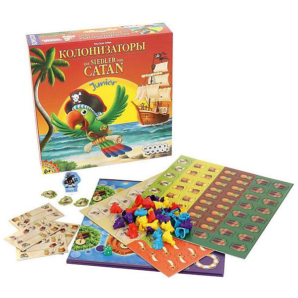 Игра Колонизаторы Junior, Hobby WorldЭкономические настольные игры<br>Чтобы порадовать более юных любителей настольных игр и была придумана настольная игра «Колонизаторы Джуниор». <br>Эта детская версия игры (минимальный возраст - 6 лет), по сути, представляет собой упрощённый вариант «взрослых» Колонизаторов в пиратском оформлении. <br>Юным героям предстоит стать пиратами, которые решили обосноваться на островах Катана. Для этого они строят пиратские лагеря и корабли, добывают нужные и полезные ресурсы, такие как дерево, шерсть, ну и конечно же какие пираты могут обойтись без рома и сабель! Всё бы хорошо, да только пират-призрак, обитающий на острове доставляет его новым хозяевам массу хлопот… впрочем, у пиратов есть и помощник - попугай Коко, который всегда готов прийти на помощь (впрочем, не вполне бескорыстно...)<br><br>В наборе:<br>1 двустороннее игровое поле<br>32 корабля<br>28 пиратских лагеря<br>1 пират-призрак<br>110 игральных карт<br>1 рынок<br>4 строительные карты<br>4 карты Гавань<br>1 кубик<br>1 инструкция<br><br>Ширина мм: 290<br>Глубина мм: 290<br>Высота мм: 70<br>Вес г: 855<br>Возраст от месяцев: 72<br>Возраст до месяцев: 1188<br>Пол: Унисекс<br>Возраст: Детский<br>SKU: 3202230