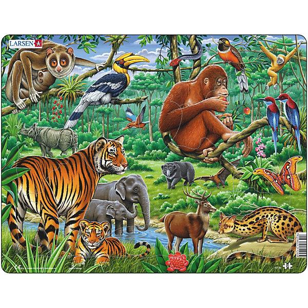 Пазл Джунгли, 20 деталей, LarsenПазлы для малышей<br>Пазл Джунгли, 20 деталей, Larsen (Ларсен) представляет собой изображение джунглей, в котором ярко, детально и красочно выписаны все животные, птицы, насекомые и растительный мир джунглей: тигры, слоны, обезьяны, носороги, пеликаны, змеи, бабочки. В процессе сборки пазла взрослые правильно и четко могут называть всех обитателей джунглей и просить ребенка повторить. Изготовлен пазл из плотного трехслойного картона, имеет специальную подложку и рамку, которые облегчают процесс сборки. Принцип сборки пазла заключается в использовании принципа совместимости изображений и контуров пазла. Если малыш не сможет совместить детали пазла по рисунку, он сделает это по контуру пазла, вставив его в подложку как вкладыш. Высокое качество материала и печати не допускают износа, расслаивания, деформации деталей и стирания рисунка. Многообразие форм и разные размеры деталей пазла развивают мелкую моторику пальцев. Занятия по сборке пазла развивают образное и логическое мышление, пространственное воображение, память, внимание, усидчивость, координацию движений.<br><br>Дополнительная информация:<br><br>- Количество элементов: 20 деталей<br>- Материал: плотный трехслойный картон<br>- Размер пазла: 36,5 x 28,5 см.<br><br>Пазл Джунгли, 20 деталей, Larsen (Ларсен) можно купить в нашем интернет-магазине.<br><br>Ширина мм: 369<br>Глубина мм: 286<br>Высота мм: 7<br>Вес г: 314<br>Возраст от месяцев: 48<br>Возраст до месяцев: 72<br>Пол: Унисекс<br>Возраст: Детский<br>Количество деталей: 20<br>SKU: 3206506