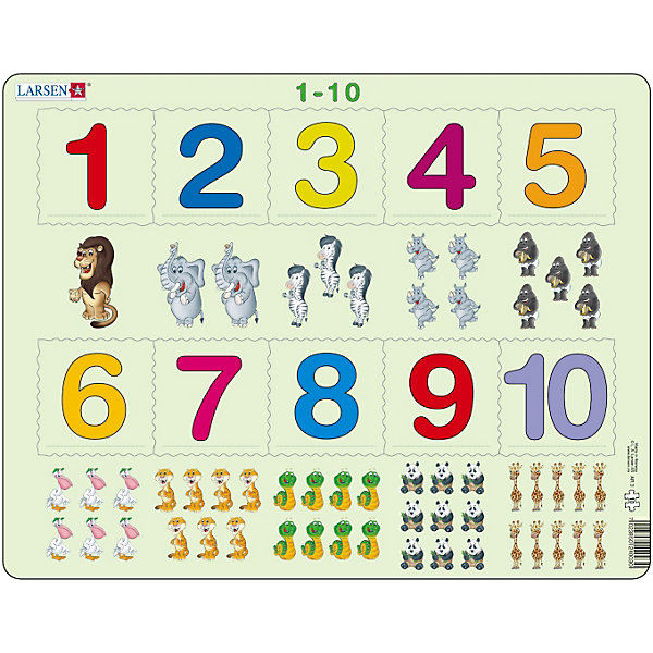 Пазл 1-10, 10 деталей, LarsenПособия для обучения счёту<br>Пазл 1-10, 10 деталей, Larsen (Ларсен) – этот обучающий и развивающий пазл, который относится к серии Математика и предназначен для самых маленьких. На картоне отпечатано десять различных символов, и детям необходимо правильно разместить вырубленные числа от 1 до 10 в соответствии с количеством заданных символов. Изготовлен пазл из плотного трехслойного картона, имеет специальную подложку и рамку, которые облегчают процесс сборки. Высокое качество материала и печати не допускают износа, расслаивания, деформации деталей и стирания рисунка. Занятия по сборке пазла развивают мелкую моторику пальцев, образное и логическое мышление, пространственное воображение, память, внимание, усидчивость, координацию движений.<br><br>Дополнительная информация:<br><br>- Количество элементов: 10 деталей<br>- Материал: плотный трехслойный картон<br>- Размер пазла: 36,5 x 28,5 см.<br><br>Пазл 1-10, 10 деталей, Larsen (Ларсен) можно купить в нашем интернет-магазине.<br>Ширина мм: 370; Глубина мм: 284; Высота мм: 10; Вес г: 313; Возраст от месяцев: 36; Возраст до месяцев: 60; Пол: Унисекс; Возраст: Детский; Количество деталей: 10; SKU: 3206511;