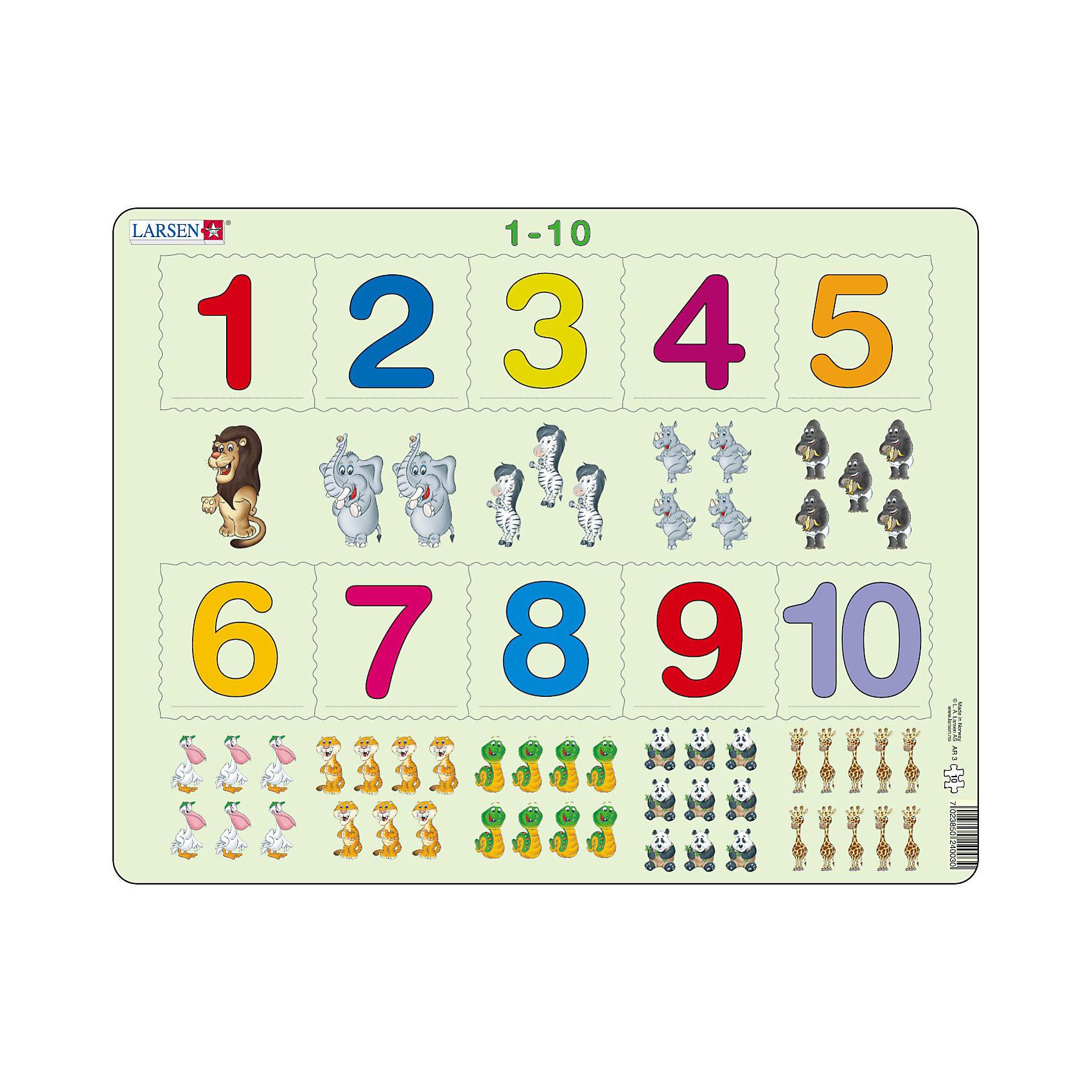 Пазл 1-10, 10 деталей, LarsenПазл 1-10, 10 деталей, Larsen (Ларсен) – этот обучающий и развивающий пазл, который относится к серии Математика и предназначен для самых маленьких. На картоне отпечатано десять различных символов, и детям необходимо правильно разместить вырубленные числа от 1 до 10 в соответствии с количеством заданных символов. Изготовлен пазл из плотного трехслойного картона, имеет специальную подложку и рамку, которые облегчают процесс сборки. Высокое качество материала и печати не допускают износа, расслаивания, деформации деталей и стирания рисунка. Занятия по сборке пазла развивают мелкую моторику пальцев, образное и логическое мышление, пространственное воображение, память, внимание, усидчивость, координацию движений.<br><br>Дополнительная информация:<br><br>- Количество элементов: 10 деталей<br>- Материал: плотный трехслойный картон<br>- Размер пазла: 36,5 x 28,5 см.<br><br>Пазл 1-10, 10 деталей, Larsen (Ларсен) можно купить в нашем интернет-магазине.<br><br>Ширина мм: 370<br>Глубина мм: 284<br>Высота мм: 10<br>Вес г: 313<br>Возраст от месяцев: 36<br>Возраст до месяцев: 60<br>Пол: Унисекс<br>Возраст: Детский<br>Количество деталей: 10<br>SKU: 3206511