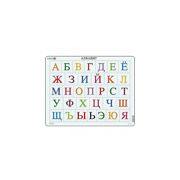 Пазл Алфавит, 26 деталей, LarsenПазлы для малышей<br>Пазл Алфавит, 26 деталей, Larsen (Ларсен) – это высококачественный обучающий пазл-рамка.<br>Пазл-рамка Алфавит познакомит ребенка с английскими буквами и их последовательностью в алфавите. Пазл имеет рамку с подложкой, что облегчит процесс сборки. Детали пазла изготовлены из высококачественного плотного трехслойного картона. Они не деформируются, хорошо сцепляются друг с другом, не расслаиваются. Рисунок не стирается. Занятия по сборке пазла развивают образное и логическое мышление, пространственное воображение, память, внимание, усидчивость, координацию движений и мелкую моторику.<br><br>Дополнительная информация:<br><br>- Количество деталей: 26<br>- Размер собранной картинки: 36,5х28,5 см.<br>- Материал: плотный трехслойный картон<br><br>Пазл Алфавит, 26 деталей, Larsen (Ларсен) можно купить в нашем интернет-магазине.<br>Ширина мм: 366; Глубина мм: 289; Высота мм: 7; Вес г: 317; Возраст от месяцев: 48; Возраст до месяцев: 72; Пол: Унисекс; Возраст: Детский; Количество деталей: 26; SKU: 3206523;