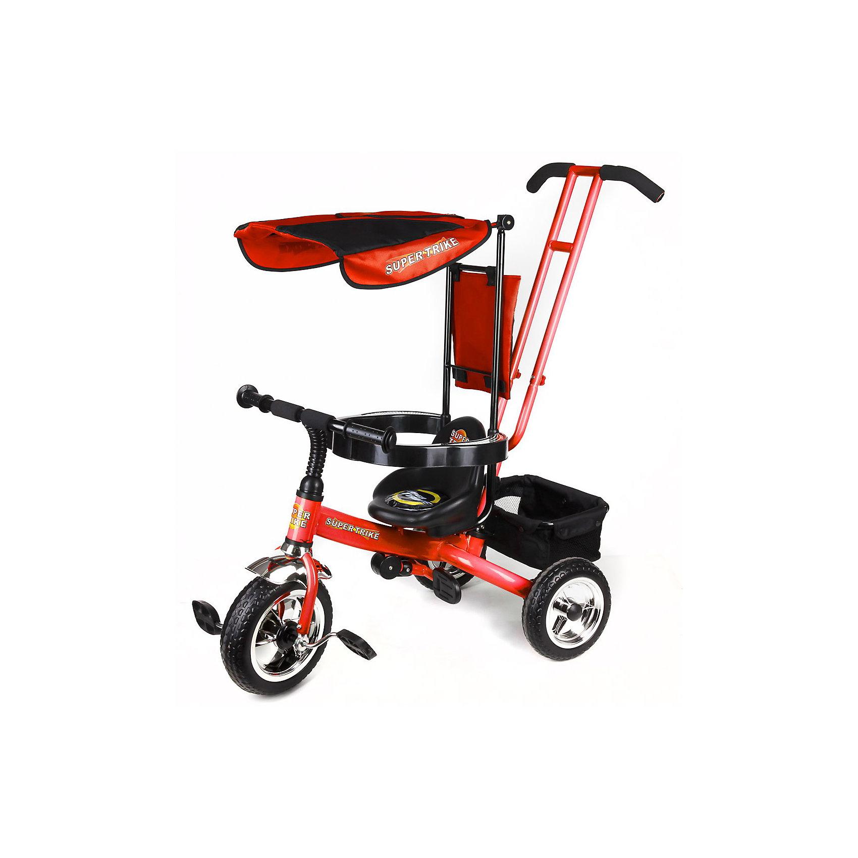 Super Trike Детский трехколесный велосипед, красныйВелосипеды детские<br>Детский трехколесный велосипед Super Trike для веселого и удобного катания от изготовителя Lexus Trike.<br><br>Велосипед оснащен удобными педалями, широкими устойчивыми колесами, складной подножкой и багажником, в который можно сложить игрушки. <br><br>Дополнительная информация:<br><br>- надёжная стальная рама, усиленная дополнительными ребрами жёсткости<br>- широкие пластиковые колёса с шинами ПВХ<br>- удобное сиденье с высокой и мягкой тканевой накладной<br>- съёмная дуга безопасности<br>- родительская ручка управления с регулируемой металлической тягой, позволяющей менять угол поворота переднего колеса<br>- складная подножка<br>- задняя корзина из плотной ткани на металлическом каркасе<br>- практичная сумка с креплением на ручке управления<br>- тент от солнца и дождя из ткани со специальной пропиткой<br>- все элементы из ткани легко снимаются для стирки<br>- цвет - красный<br><br>Ширина мм: 960<br>Глубина мм: 1050<br>Высота мм: 520<br>Вес г: 8700<br>Возраст от месяцев: 18<br>Возраст до месяцев: 60<br>Пол: Унисекс<br>Возраст: Детский<br>SKU: 3208914