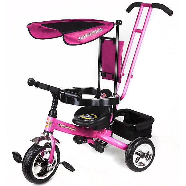 Super Trike Детский трехколесный велосипед, розовыйВелосипеды детские<br>Детский трехколесный велосипед Super Trike для веселого и удобного катания от изготовителя Lexus Trike.<br><br>Велосипед оснащен удобными педалями, широкими устойчивыми колесами, складной подножкой и багажником, в который можно сложить игрушки. <br><br>Дополнительная информация:<br><br>- надёжная стальная рама, усиленная дополнительными ребрами жёсткости<br>- широкие пластиковые колёса с шинами ПВХ<br>- удобное сиденье с высокой и мягкой тканевой накладной<br>- съёмная дуга безопасности<br>- родительская ручка управления с регулируемой металлической тягой, позволяющей менять угол поворота переднего колеса<br>- складная подножка<br>- задняя корзина из плотной ткани на металлическом каркасе<br>- практичная сумка с креплением на ручке управления<br>- тент от солнца и дождя из ткани со специальной пропиткой<br>- все элементы из ткани легко снимаются для стирки<br>- цвет - розовый<br>Ширина мм: 960; Глубина мм: 1050; Высота мм: 520; Вес г: 8700; Возраст от месяцев: 18; Возраст до месяцев: 60; Пол: Унисекс; Возраст: Детский; SKU: 3208915;