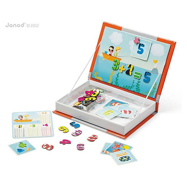 Магнитная книга-игра Учимся считать, JanodПособия для обучения счёту<br>Собирать разные изображения из деталей - любимое занятие многих детей. Магнитные фигурки - отличный способ развивать творческие способности ребенка в игровой форме. Эта игра очень удобна - ее можно брать с собой в дорогу, благодаря продуманной форме хранится она очень компактно. Игра развивает также мелкую моторику, художественный вкус, воображение, логическое мышление, цветовосприятие. Такая игра надолго занимает детей и помогает увлекательно провести время!<br>Игра из магнитных деталей Учимся считать сделана в виде книги, но внутри ее содержатся магниты разных форм и цветов в виде цифр и знаков, благодаря которым малыш познакомится с математикой. Игра разработана опытными специалистами, сделана из высококачественных материалов, безопасных для детей.<br><br>Дополнительная информация:<br><br>материал: картон;<br>размер: 19 х 4 х 26,5 см;<br>вес: 560 г;<br>комплектация: книга-коробка с магнитной застежкой, таблица умножения, 10 карточек-подсказок, 45 магнитов. <br><br>Магнитную книгу-игру Учимся считать от компании Janod можно купить в нашем магазине.<br><br>Ширина мм: 260<br>Глубина мм: 185<br>Высота мм: 40<br>Вес г: 505<br>Возраст от месяцев: 60<br>Возраст до месяцев: 96<br>Пол: Унисекс<br>Возраст: Детский<br>SKU: 3219272