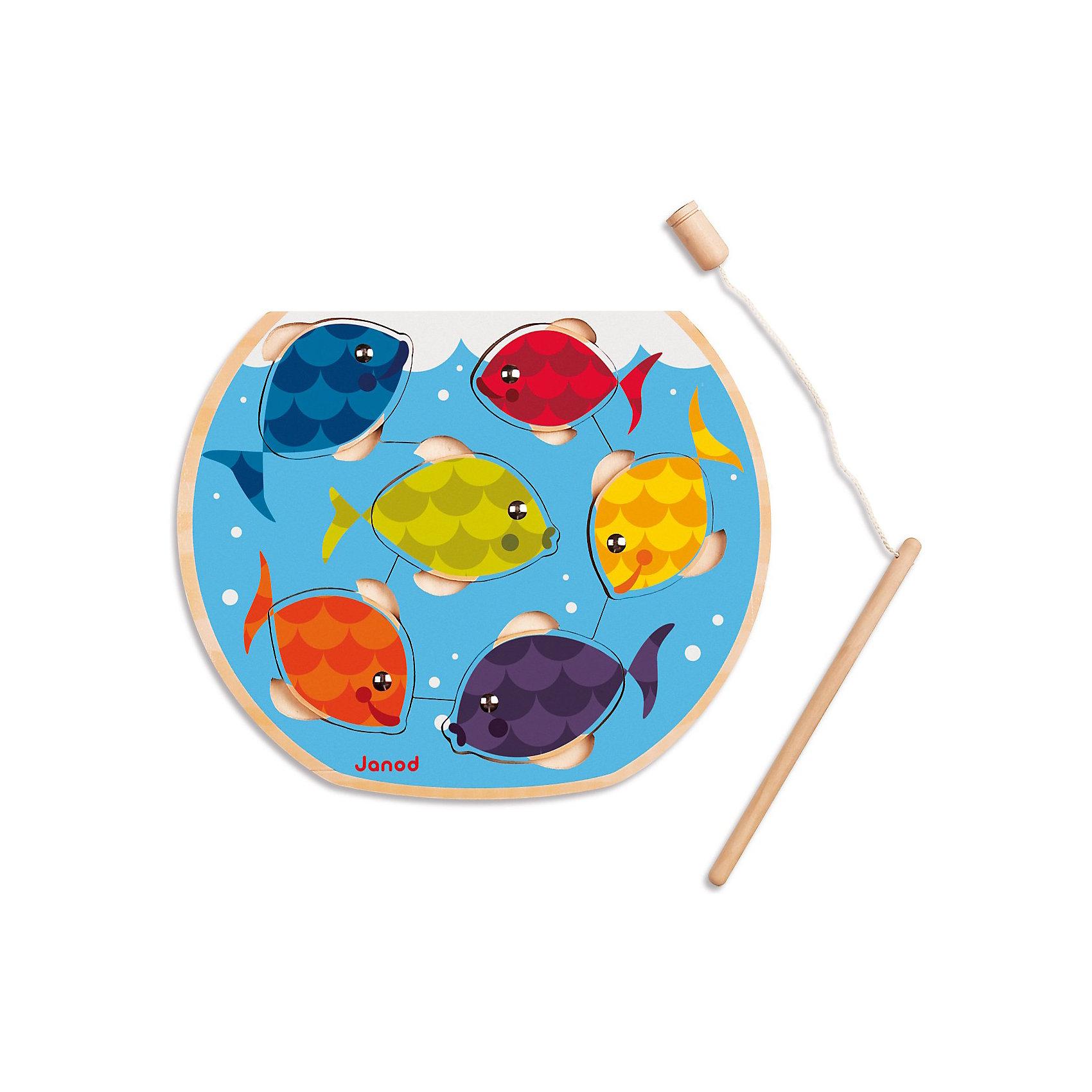 Магнитный пазл с удочкой Рыбалка, JanodПазлы - отличный способ развивать способности ребенка в игровой форме. Собирать разные изображения из деталей - любимое занятие многих детей. Эта игра очень удобна - ее можно брать с собой в дорогу, благодаря продуманной форме хранится она очень компактно. Она развивает также мелкую моторику, воображение, логическое мышление, цветовосприятие. Такая игра надолго занимает детей и помогает увлекательно провести время!<br>Пазл из магнитов Рыбалка состоит всего из 6 деталей-рыбок, для которых малыш должен найти место в аквариуме или выловить удочкой. Игрушка изготовлена из дерева, выкрашенного яркими красками на водной основе; все края закруглены. Игра разработана опытными специалистами, сделана из высококачественных материалов, безопасных для детей.<br><br>Дополнительная информация:<br><br>материал: дерево, текстиль, магнит, металл;<br>размер пазла: 270 х 220 х 10 мм;<br>размер упаковки: 28 х 23,5 х 2 см;<br>комплектация:  основа , 6 элементов пазла, удочка.<br><br>Магнитный пазл с удочкой Рыбалка от компании Janod можно купить в нашем магазине.<br><br>Ширина мм: 271<br>Глубина мм: 241<br>Высота мм: 20<br>Вес г: 312<br>Возраст от месяцев: 18<br>Возраст до месяцев: 36<br>Пол: Унисекс<br>Возраст: Детский<br>Количество деталей: 6<br>SKU: 3219280