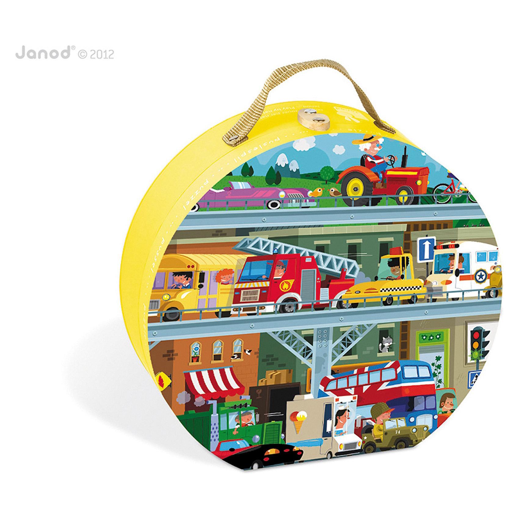 Janod Пазл в круглом чемоданчике Транспорт, 100 деталей, Janod janod пазл объемный семья зайчат 5эл