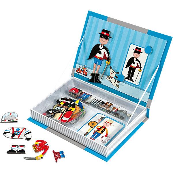 Магнитная книга-игра Мальчишки в костюмах, JanodОбучающие игры для дошкольников<br>Магнитные фигурки - отличный способ развивать творческие способности ребенка в игровой форме. Эта игра очень удобна - ее можно брать с собой в дорогу, благодаря продуманной форме хранится она очень компактно. Она развивает также мелкую моторику, художественный вкус, воображение, логическое мышление, цветовосприятие. Такая игра надолго занимает детей и помогает увлекательно провести время!<br>Игра из магнитных деталей Мальчишки в костюмах сделана в виде книги, но внутри ее содержатся магниты разных форм и цветов в виде одежды для героя. Игра разработана опытными специалистами, сделана из высококачественных материалов, безопасных для детей.<br><br>Дополнительная информация:<br><br>материал: картон;<br>размер: 19 х 4 х 26,5 см;<br>вес: 680 г;<br>комплектация: книга-коробка с магнитной застежкой, 8 карточек с костюмами; 34 магнитов.<br><br>Магнитную книгу-игру Мальчишки в костюмах от компании Janod можно купить в нашем магазине.<br><br>Ширина мм: 262<br>Глубина мм: 192<br>Высота мм: 40<br>Вес г: 548<br>Возраст от месяцев: 36<br>Возраст до месяцев: 72<br>Пол: Мужской<br>Возраст: Детский<br>SKU: 3219334