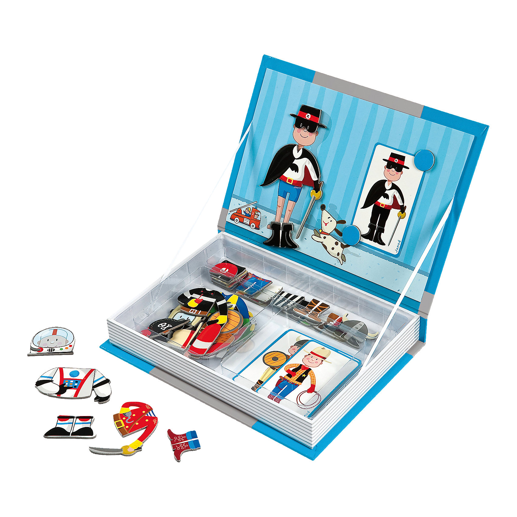 janod магнитная книга игра лошадки 24 магнита 8 моделей 4 пейзажа Janod Магнитная книга-игра Мальчишки в костюмах, Janod