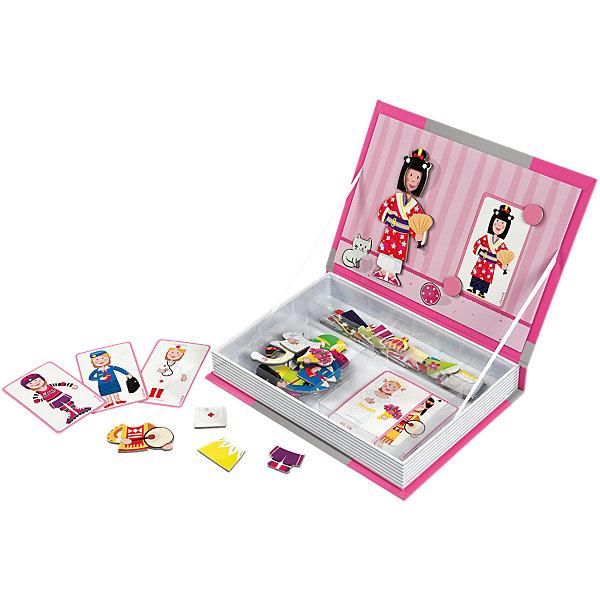 Магнитная книга-игра Девочка в одеждах, JanodОкружающий мир<br>Магнитные фигурки - отличный способ развивать творческие способности ребенка в игровой форме. Эта игра очень удобна - ее можно брать с собой в дорогу, благодаря продуманной форме хранится она очень компактно. Она развивает также мелкую моторику, художественный вкус, воображение, логическое мышление, цветовосприятие. Такая игра надолго занимает детей и помогает увлекательно провести время!<br>Игра из магнитных деталей Девочка в одеждах сделана в виде книги, но внутри ее содержатся магниты разных форм и цветов с одеждой для героини. Игра разработана опытными специалистами, сделана из высококачественных материалов, безопасных для детей.<br><br>Дополнительная информация:<br><br>материал: картон;<br>размер: 19 х 4 х 26,5 см;<br>вес: 720 г;<br>комплектация: книга-коробка с магнитной застежкой, 8 картинок; 34 магнитов.<br><br>Магнитную книгу-игру Девочка в одеждах от компании Janod можно купить в нашем магазине.<br><br>Ширина мм: 269<br>Глубина мм: 192<br>Высота мм: 43<br>Вес г: 545<br>Возраст от месяцев: 36<br>Возраст до месяцев: 72<br>Пол: Женский<br>Возраст: Детский<br>SKU: 3219335