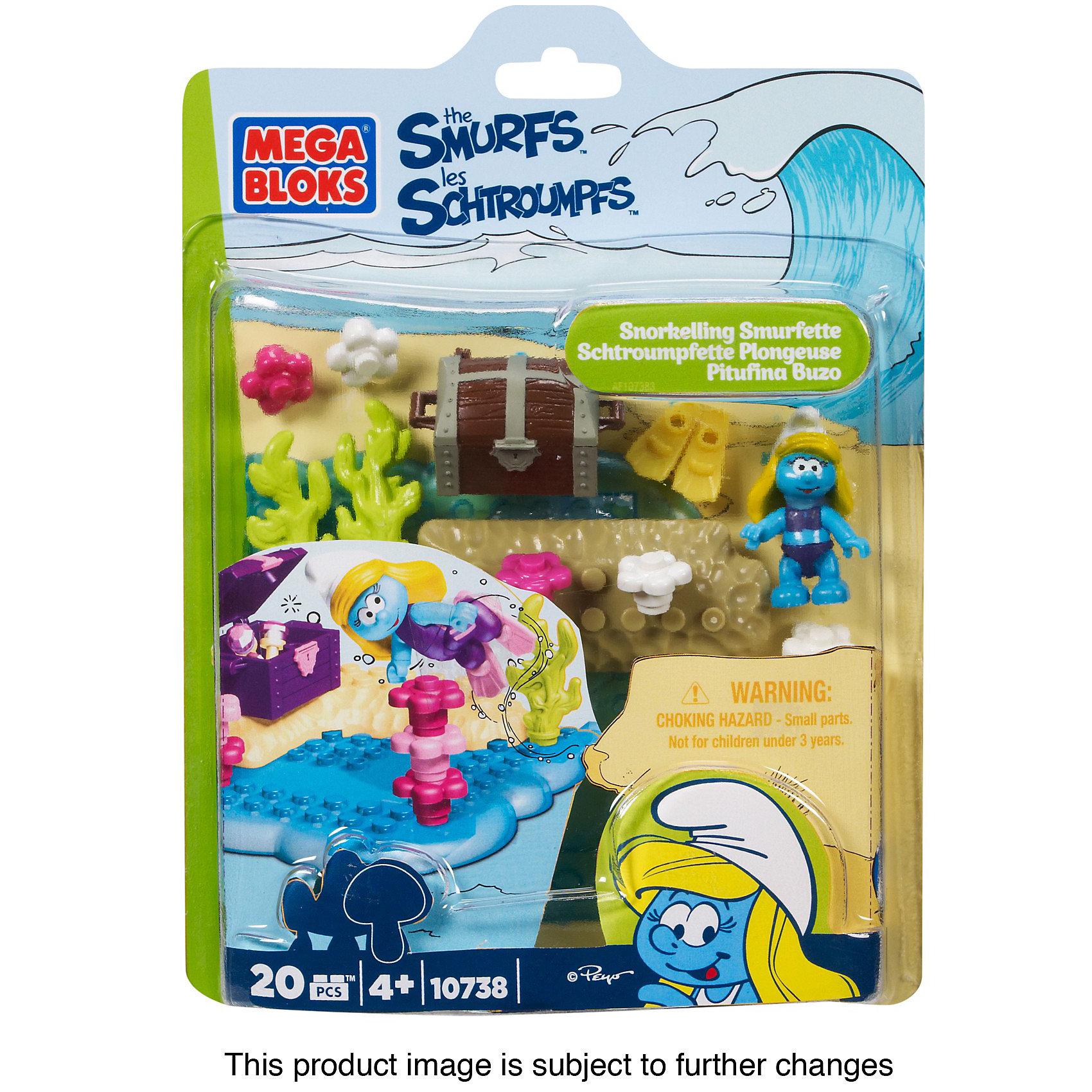 Конструктор Смурфетта-водолаз Смурфики, MEGA BLOKS, 20 дет.Смурфики - весёлые гномики, которые живут в волшебной деревне и занимаются разными делами. Так например, одна Смурфетта очень любит плавать, нырять и познавать подводный мир! <br><br>На дне реки много всего интересного, и, конечно же, там можно найти сокровища! Помогите Смурфетте исследовать подводный мир и, возможно, вы наткнётесь на старинный ящик с драгоценностями, который так хочет найти наша героиня!<br><br>Конструктор основан на популярном фильме Смурфики-2.<br><br>Конструктор Смурфетта-водолаз от MEGA BLOKS (МЕГА БЛОКС) можно купить внашем интернет-магазине.<br><br>Дополнительная информация:<br>Количество деталей: 20 шт.<br><br>Ширина мм: 152<br>Глубина мм: 203<br>Высота мм: 38<br>Вес г: 140<br>Возраст от месяцев: 48<br>Возраст до месяцев: 96<br>Пол: Унисекс<br>Возраст: Детский<br>SKU: 3219494