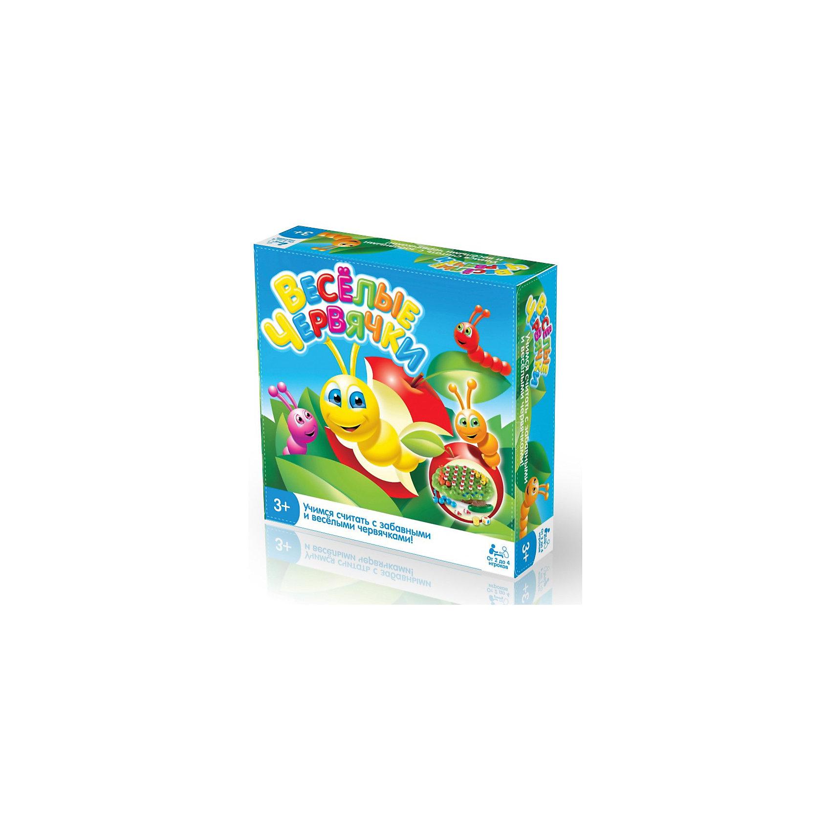 Игра Веселые червячки, Longshore LimitedПознавательная игра Веселые червячки отлично подходит для развития малышей от трех лет. Вместе с ней детки научатся считать и разовьют моторику пальчиков. На игровом поле расставляется 19 яблочек, затем выставляются цветные червячки, для каждого червячка на игровом поле отмечено место начала игры. Игрокам нужно ходить по очереди. Первый игрок бросает 2 кубика - цветной кубик укажет, какому червячку ползти, а кубик с цифрами подскажет, сколько ячеек нужно проползти червячку. Ползая, червячки могут окружать ячейки с яблочками - окруженное червяком яблоко, считается съеденным - игрок такое яблоко забирает себе. Игра заканчивается, когда на игровом поле не останется яблок, а побеждает тот игрок, у которого наибольшее количество яблок.<br><br>Дополнительная информация:<br><br>- В комплект входит: 3 разноцветных червячка (оранжевый, синий, желтый);  19 яблок; 1 игровое поле;  1 цветной кубик; 1 кубик с цифрами; инструкция на русском языке.<br>- Количество  игроков: 2-4.<br>- Материал: пластик.<br><br>Ширина мм: 129<br>Глубина мм: 90<br>Высота мм: 60<br>Вес г: 50<br>Возраст от месяцев: 36<br>Возраст до месяцев: 180<br>Пол: Унисекс<br>Возраст: Детский<br>SKU: 3220291