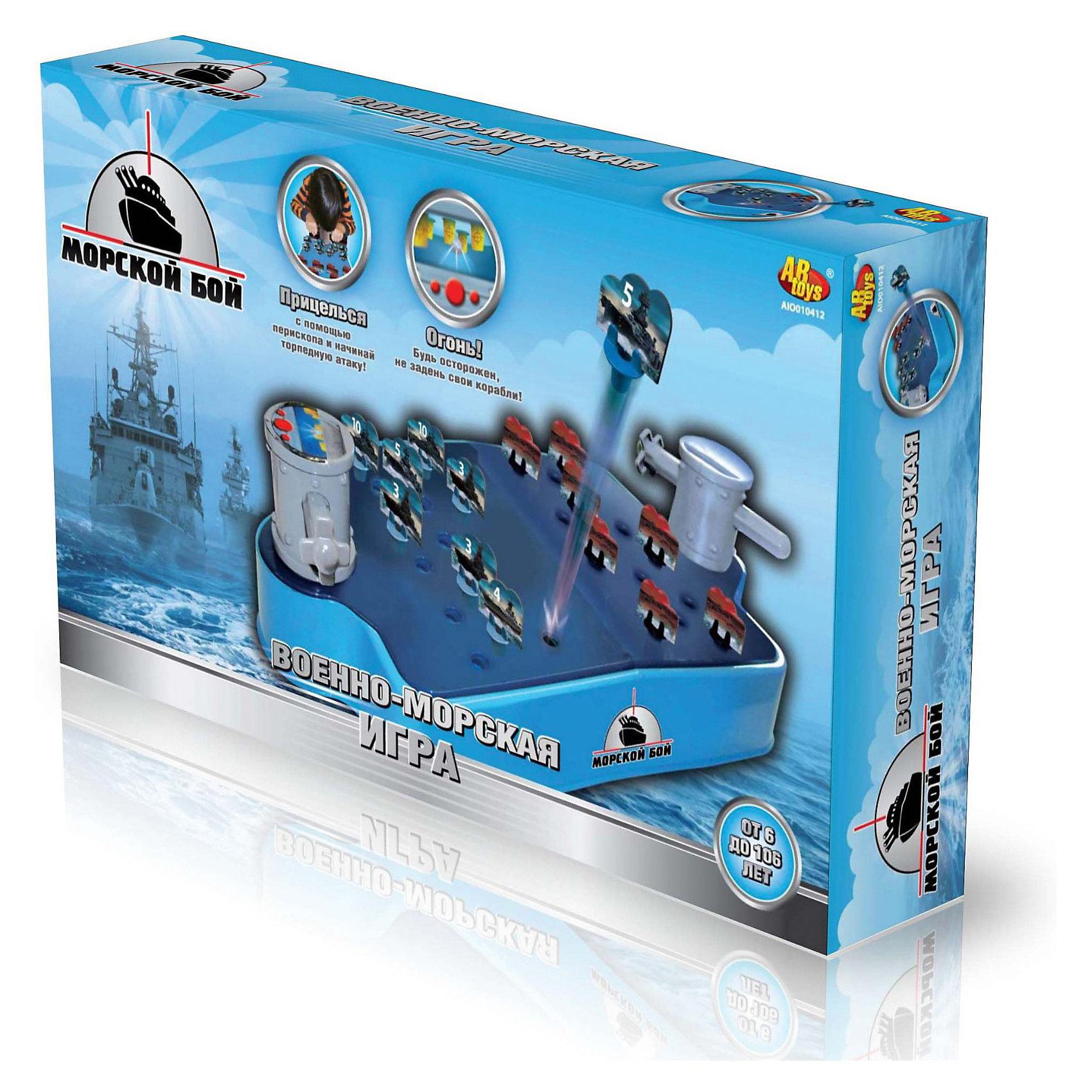 Игра Морской Бой с перископическим прицеломНовый вариант классической тактической игры Морской бой. Но в данной игре бой происходит под водой (под полем) и целиться надо с помощью перископа. <br><br>Задача каждого игрока грамотно расставить свои корабли и подбить вражеские. Побеждает тот, кто первым потопит все вражеские судна и наберет наибольшее количество очков.<br><br>Как играть:<br>1. Установить свои корабли, затем выбрать первую цель.<br>2. Прицелиться с помощью перископа.<br>3. повернуть рычаг и выстрелить шариком-торпедой.<br>4. Подбить вражеское судно.<br>Сбитые корабли выскакивают вверх поля. Необходим четкий тактический расчет, чтобы не задеть свои корабли. <br><br>Дополнительная информация:<br><br>- В комплект входит: игровое поле; 2 джойстика с перископом; 4 шарика-торпеды; 20 карточек-мишеней;  20 подставок; 10 меток; правила.<br>- Материал: пластмасса.<br><br>Ширина мм: 419<br>Глубина мм: 244<br>Высота мм: 76<br>Вес г: 223<br>Возраст от месяцев: 60<br>Возраст до месяцев: 180<br>Пол: Мужской<br>Возраст: Детский<br>SKU: 3220296