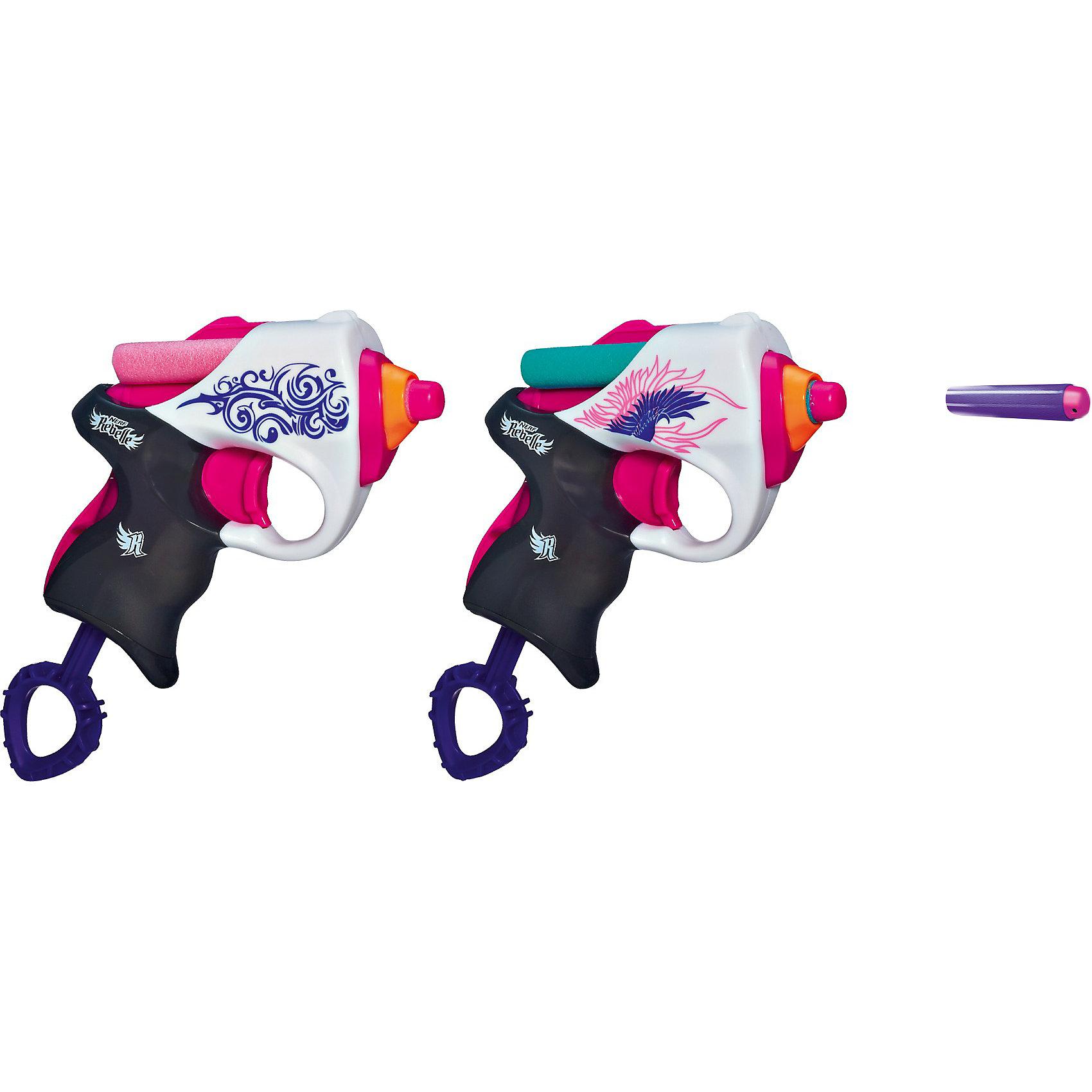 Мини-бластеры Сладкая парочка, N-RebelleИгрушечное оружие<br>Мини-бластеры Сладкая парочка, Nerf Rebelle - оригинальное элегантное оружие для девочек. В комплекте 2 стильных компактных бластера, выполненных в бело-розовых тонах и имеющих привлекательный дизайн с симпатичными узорами. Для того, чтобы начать игру, зарядите бластеры патронами, потяните вниз рукоятку, а затем нажмите на спусковой крючок для выстрела. Благодаря своей компактности и небольшим размерам бластеры легко помещаются в карман или сумку. Патроны выполнены из мягкого материала и не опасны для детей.<br><br>Дополнительная информация:<br><br>- В комплекте: 2 бластера, 4 безопасных стрелы.<br>- Материал: высококачественная пластмасса.<br>- Размер упаковки: 29,5 x 4,5 x 20 см.<br>- Вес: 0,7 кг.<br><br>Мини-бластеры Сладкая парочка, Nerf Rebelle (Нерф) можно купить в нашем интернет-магазине.<br><br>Ширина мм: 304<br>Глубина мм: 200<br>Высота мм: 48<br>Вес г: 279<br>Возраст от месяцев: 96<br>Возраст до месяцев: 144<br>Пол: Женский<br>Возраст: Детский<br>SKU: 3222061