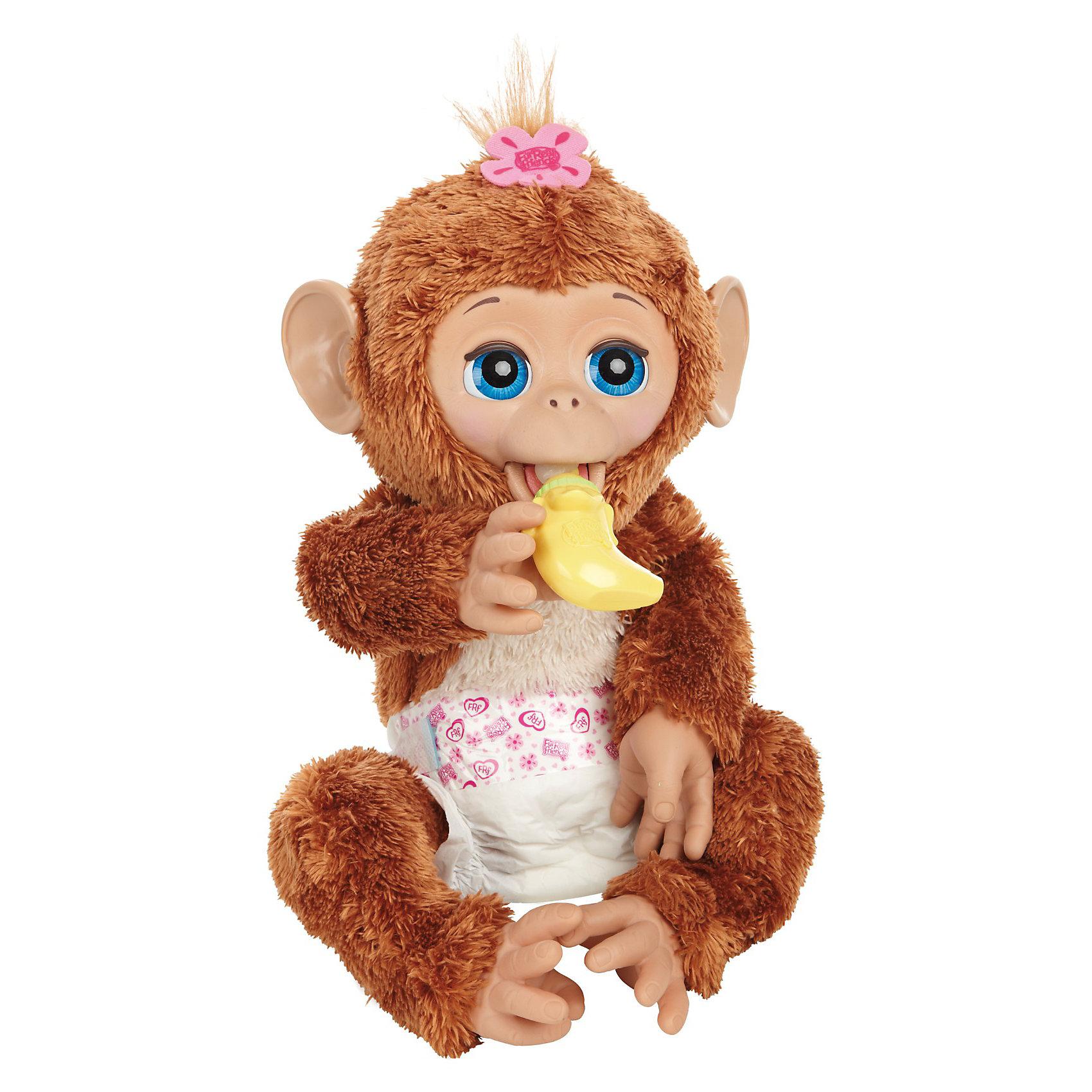 Смешливая обезьянка, FurReal Friends, HasbroИнтерактивные мягкие игрушки<br>Смешливая обезьянка, FurReal Friends, Hasbro. Теперь у тебя есть своя собственная домашняя обезьянка с голубыми глазами, которые могут закрываться, если она устала, и с мягкой бежево-коричневой шёрсткой! Она двигает губами, когда ты кормишь её из бутылочки, которая сделана в форме банана. После кормления не забудь поменять подгузник. Пощекоти её и ты услышышь, веселый смех твоего питомца. Покачай обезьянку на руках, и она закроет глазки и уснет. Заботься о ней, как о настоящем малыше!<br><br>Дополнительная информация:<br><br>- В комлекте: обезьянка, бутылочка-банан, подгузник.<br>- Игрушка выдаёт более 100 разных реакций на действия с ней.<br>- Для работы игрушки необходимы 4 батарейки типа C / LR14 1.5V (малые бочонки), не входят в комплект.<br>- Игрушка изготовлена из пластмассы и текстиля, имеет высоту около 35 см.<br>- Размер коробки: 38.1 х 19.1 х 38.1 см.<br><br>Побалуйся вместе со смешливой обезъянкой от FurReal - покрути её и услышишь восторженное У-ииии!<br><br>Смешливую обезьянку, FurReal Friends, Hasbro можно купить в нашем магазине.<br><br>Ширина мм: 382<br>Глубина мм: 385<br>Высота мм: 182<br>Вес г: 1504<br>Возраст от месяцев: 48<br>Возраст до месяцев: 84<br>Пол: Женский<br>Возраст: Детский<br>SKU: 3222540