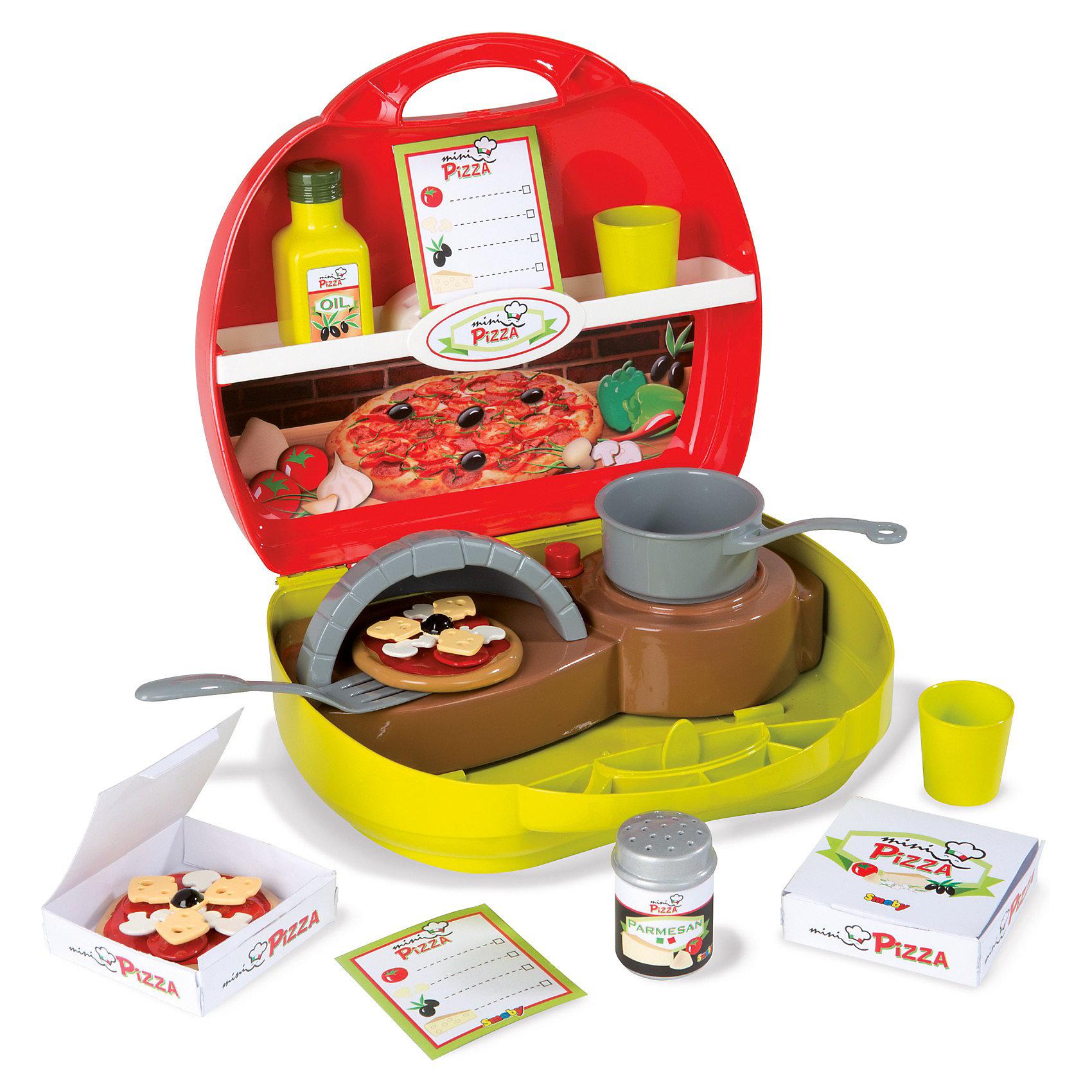 Мини-кухня Пицца, SmobyДетские кухни<br>Характеристики:<br><br>• размер чемоданчика: 26х10х24 см;<br>• аксессуары: пицца с 3-мя компонентами, коробочка для пиццы, лист меню, сырница и другие аксессуары;<br>• материал: пластик.<br><br>Мобильная кухня для приготовления пиццы помещается в компактном чемоданчике с ручкой. Открыв чемоданчик, внутри вы увидите варочную панель в нижнем отсеке и множество полочек для продуктов и кухонного инвентаря в верхнем отсеке чемоданчика. <br><br>Мини-кухню Пицца, Smoby можно купить в нашем магазине.<br><br>Ширина мм: 225<br>Глубина мм: 251<br>Высота мм: 104<br>Вес г: 579<br>Возраст от месяцев: 36<br>Возраст до месяцев: 96<br>Пол: Женский<br>Возраст: Детский<br>SKU: 3231512