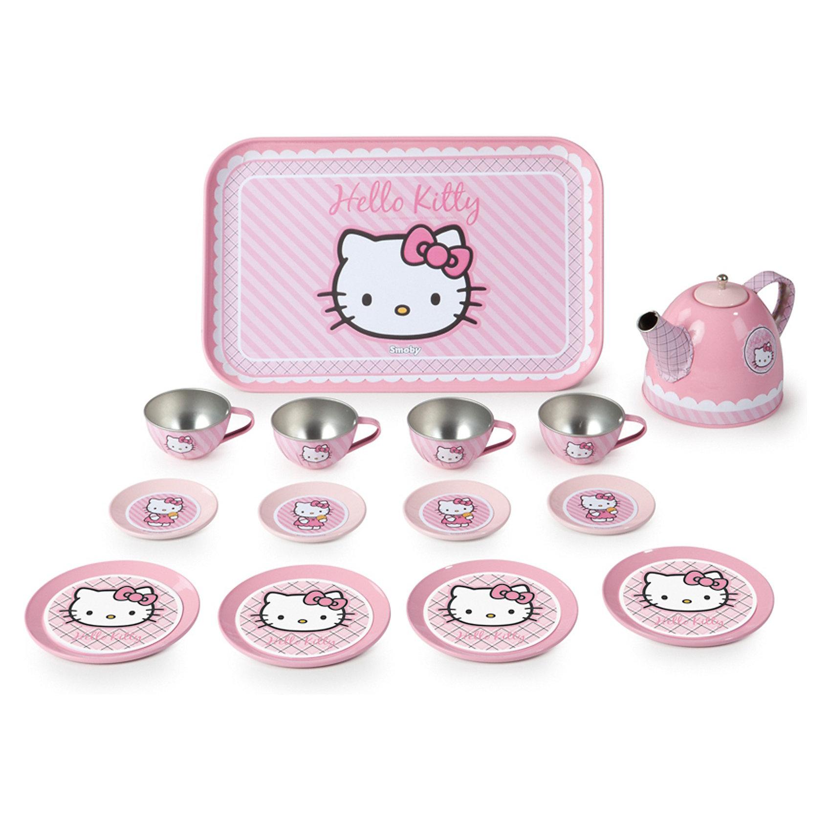 Набор посудки 14 предметов, металлический, Smoby, Hello KittyПосуда и аксессуары для детской кухни<br>Характеристики:<br><br>• количество предметов: 14 шт.;<br>• аксессуары: 4 тарелки, 9 см, 4 блюдца, 4 см, 4 чашки, 5 см, поднос 24х16 см, чайник;<br>• материал: металл;<br>• размер упаковки: 30,5х20х9 см;<br>• вес: 500 г.<br><br>Металлическая посудка Smoby оформлена в стиле кошечки Hello Kitty. Полный комплект посуды для праздничного чаепития на 4 персоны. Девочка угостит чаем кукол и зверушек. <br><br>Набор посудки 14 предметов, металлический, Smoby, Hello Kitty можно купить в нашем магазине.<br><br>Ширина мм: 311<br>Глубина мм: 200<br>Высота мм: 97<br>Вес г: 489<br>Возраст от месяцев: 36<br>Возраст до месяцев: 96<br>Пол: Женский<br>Возраст: Детский<br>SKU: 3231514
