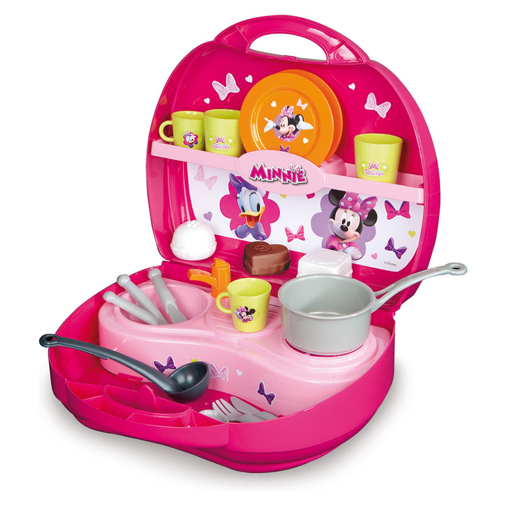 Мини-кухня Минни, SmobyПосуда и аксессуары для детской кухни<br>Характеристики:<br><br>• размер чемоданчика в раскрытом виде: 36х42х22 см;<br>• размер чемоданчика в закрытом виде: 26х10х24 см;<br>• аксессуары: 3 пирожных, 2 тарелки, 2 чашки, 2 вилки, 2 ножа и 2 ложки;<br>• посуда: ковш с длинной ручкой;<br>• материал: пластик.<br><br>Мобильная кухня для приготовления еды помещается в компактном чемоданчике с ручкой. Открыв чемоданчик, вы обнаружите варочную панель, раковину, полочку для посуды и отсеки для столовых приборов. В процессе игры развивается фантазия, речь, воображение.<br><br>Мини-кухню Минни, Smoby можно купить в нашем магазине.<br><br>Ширина мм: 252<br>Глубина мм: 225<br>Высота мм: 102<br>Вес г: 517<br>Возраст от месяцев: 36<br>Возраст до месяцев: 72<br>Пол: Женский<br>Возраст: Детский<br>SKU: 3231635
