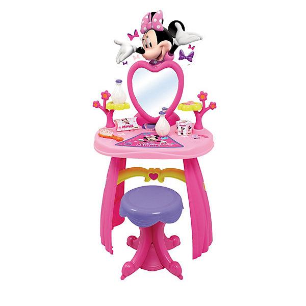 Туалетный столик Minnie, SmobyСалон красоты<br>Туалетный столик оснащен высокой стойкой, зеркалом (можно наклонять), удобным табуретом и множеством отсеков для украшений. <br><br>Дополнительная информация:<br><br>В набор входит: 2 ободка, 3 кольца, 1 браслет, гребешок и 2 флакона для духов. Столик можно снять со стойки и использовать отдельно. Столик украшен красивой мышкой Minnie.<br>Высота: 90 см<br><br>Туалетный столик Minnie, Smoby (Смоби) можно купить в нашем магазине.<br><br>Ширина мм: 606<br>Глубина мм: 393<br>Высота мм: 200<br>Вес г: 2567<br>Возраст от месяцев: 36<br>Возраст до месяцев: 72<br>Пол: Женский<br>Возраст: Детский<br>SKU: 3231639