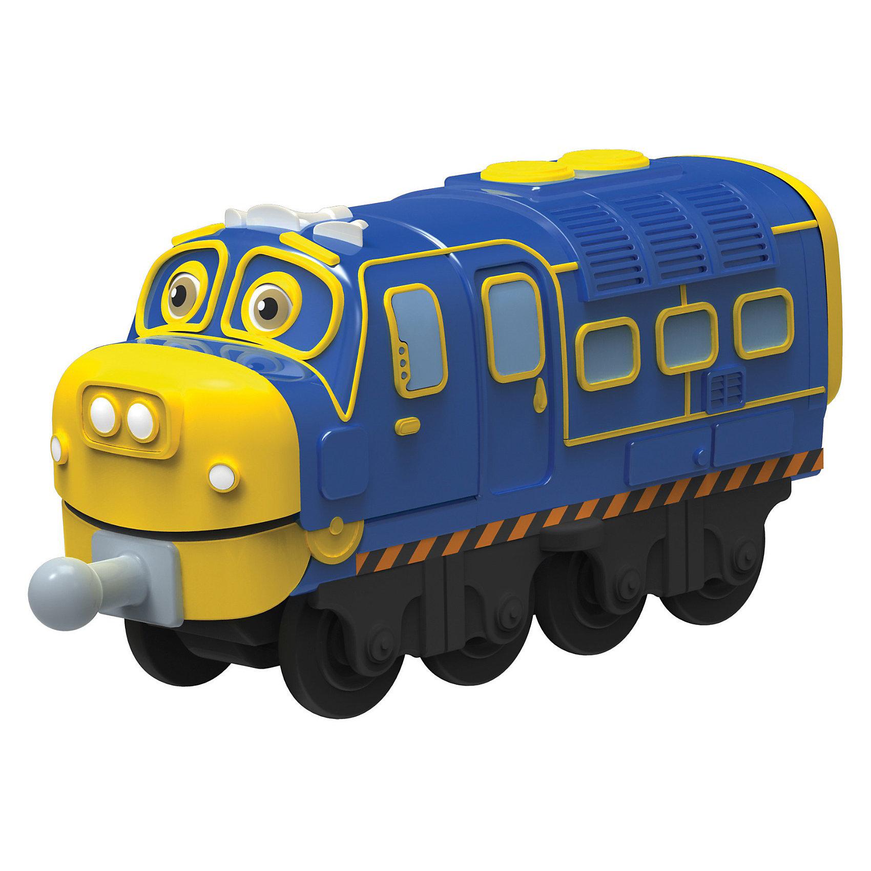 Паровозик Брюстер-инженер, ЧаггингтонИгрушечная железная дорога<br>Яркий металлический Паровозик Брюстер-инженер, Чаггингтон несомненно привлечет внимание вашего ребенка и не позволит ему скучать. <br> <br>Паровозик выполнен в виде забавного персонажа из мультфильма «Веселые паровозики из Чаггингтона». Отделка и окрас паровозика максимально приближены ко внешнему виду знаменитого героя. У него есть глаза и носик, а так же очаровательная улыбка. Инженер по имени Брюстер всегда готов выстроить схему и поучаствовать в перевозке, погрузке грузов, проектировании и бурении. Впереди и сзади есть специальные элементы для крепления с другими вагончиками.<br><br>Дополнительная информация:<br><br>-Длина паровозика: 9 см<br>-Материалы: металл, пластик<br>-Паровозик не моторизованный: ребенок самостоятельно катает его по рельсам<br><br>Ваш ребенок будет часами играть с паровозиком, придумывая разные истории и проигрывая любимые моменты из мультфильма. Порадуйте его таким замечательным подарком! <br><br>Паровозик Брюстер-инженер, Чаггингтон (Chuggington) можно купить в нашем магазине.<br><br>Ширина мм: 171<br>Глубина мм: 144<br>Высота мм: 35<br>Вес г: 88<br>Возраст от месяцев: 36<br>Возраст до месяцев: 60<br>Пол: Мужской<br>Возраст: Детский<br>SKU: 3232703