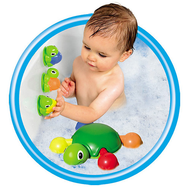 Игрушка для ванной Веселые черепашки, TOMYИгрушки для ванной<br>Характеристики игрушка для ванной Веселые черепашки:<br><br>- возраст: от 12 месяцев<br>- пол: для мальчиков и девочек<br>- цвет: зеленый, красный, желтый, оранжевый, синий.<br>- комплект: мама-черепаха, ноги-ковшики (4 шт.), черепашата (4 шт.).<br>- материал: пластик, резина.<br>- размер упаковки: 28 * 8 * 30 см.<br>- упаковка: картонная коробка.<br>- страна обладатель бренда: Великобритания.<br><br>Веселое черепашье семейство сделает водные процедуры намного интереснее! Пластмассовая мама-черепаха уверенно держится на поверхности воды, а четверо резиновых черепашат могут прилипать к ее панцирю или к другим гладким поверхностям, вроде кафеля. К тому же в них можно набрать воды и брызгаться! Лапки мамы-черепахи — это еще и ковшики с отверстиями, их можно отсоединить и поливаться как из душа. Когда купание закончено, лапки нужно вернуть на место, подобрав для каждой выемку соответствующей формы — но уж с этой задачкой юный логик справится быстро. Играть в воде — очень весело, и это готовы подтвердить многие рептилии!<br><br>Игрушку для ванной Веселые черепашки торговой марки Tomy (Томи) можно купить в нашем интернет-магазине.<br>Ширина мм: 305; Глубина мм: 281; Высота мм: 86; Вес г: 703; Возраст от месяцев: 12; Возраст до месяцев: 48; Пол: Унисекс; Возраст: Детский; SKU: 3232813;