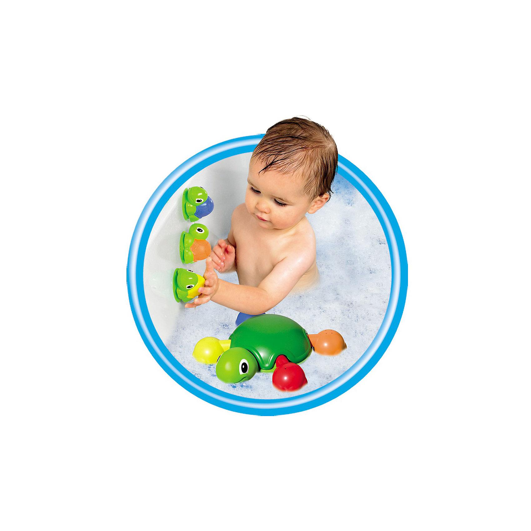 Игрушка для ванной Веселые черепашки, TOMYИгровые наборы<br>Характеристики игрушка для ванной Веселые черепашки:<br><br>- возраст: от 12 месяцев<br>- пол: для мальчиков и девочек<br>- цвет: зеленый, красный, желтый, оранжевый, синий.<br>- комплект: мама-черепаха, ноги-ковшики (4 шт.), черепашата (4 шт.).<br>- материал: пластик, резина.<br>- размер упаковки: 28 * 8 * 30 см.<br>- упаковка: картонная коробка.<br>- страна обладатель бренда: Великобритания.<br><br>Веселое черепашье семейство сделает водные процедуры намного интереснее! Пластмассовая мама-черепаха уверенно держится на поверхности воды, а четверо резиновых черепашат могут прилипать к ее панцирю или к другим гладким поверхностям, вроде кафеля. К тому же в них можно набрать воды и брызгаться! Лапки мамы-черепахи — это еще и ковшики с отверстиями, их можно отсоединить и поливаться как из душа. Когда купание закончено, лапки нужно вернуть на место, подобрав для каждой выемку соответствующей формы — но уж с этой задачкой юный логик справится быстро. Играть в воде — очень весело, и это готовы подтвердить многие рептилии!<br><br>Игрушку для ванной Веселые черепашки торговой марки Tomy (Томи) можно купить в нашем интернет-магазине.<br><br>Ширина мм: 303<br>Глубина мм: 281<br>Высота мм: 84<br>Вес г: 549<br>Возраст от месяцев: 12<br>Возраст до месяцев: 48<br>Пол: Унисекс<br>Возраст: Детский<br>SKU: 3232813