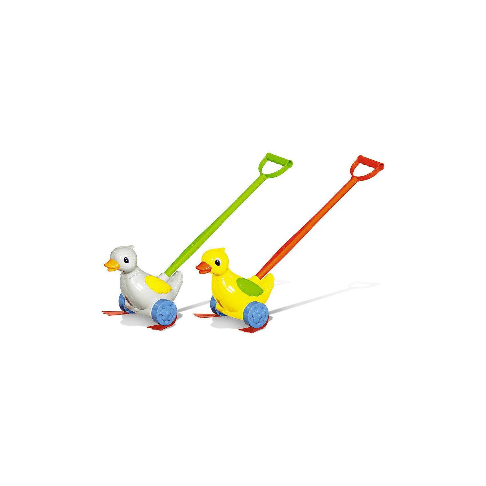 Каталка Уточка, СтелларИгрушки-каталки<br>Когда малыш делает первые шаги, ему всегда приятно, что кто-то есть рядом. Особенно если этот кто-то веселый и цветной.<br><br>Каталка представляет собой уточку, к которой крепится ручка-держатель.<br>При движении уточка шагает лапками по  полу.<br>Игрушка стимулирует малыша к активным действиям и движению.<br><br>Материал: пластмасса<br><br>ВНИМАНИЕ! Данный артикул имеется в наличии в разных цветовых исполнениях. К сожалению, заранее выбрать определенный цвет невозможно. При заказе нескольких позиций возможно получение одинаковых.<br><br>Ширина мм: 300<br>Глубина мм: 220<br>Высота мм: 220<br>Вес г: 520<br>Возраст от месяцев: 6<br>Возраст до месяцев: 24<br>Пол: Унисекс<br>Возраст: Детский<br>SKU: 3235139