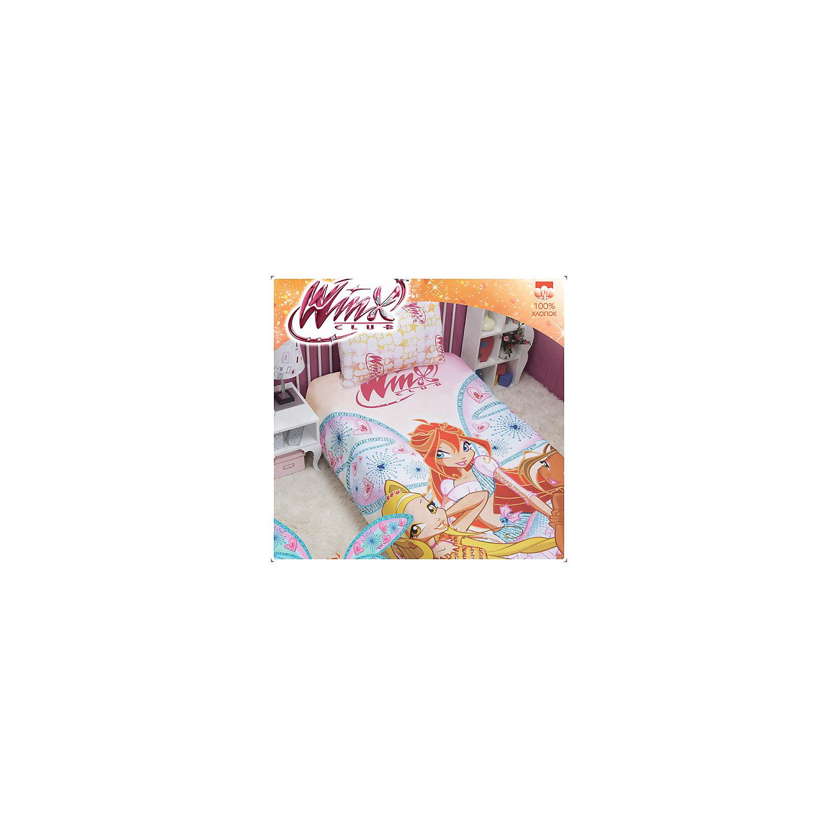 Постельное белье детское Фея, 1,5-спальный, Winx ClubWinx Club<br>Постельноге белье Winx Club Fairy с  героями любимого мультфильма станет прекрасным подарком для Вашего ребенка. Героини культового мультсериала для девочек изображены на постельном белье ведущего российского производителя.<br><br>Дополнительная информация:<br><br>- Размер комплекта: полутораспальный.<br>- Состав: хлопок 100%<br>- В комплекте: 1 наволочка, 1 пододеяльник и 1 простыня.<br>- наволочка: 50*70 см<br>- простыня: 150*215 см<br>- пододеяльник: 145*210 см<br>- Основной цвет: розовый.<br>- Серия: Winx (Винкс) - Школа Волшебниц<br><br>Комплект постельного белья Winx Club Fairy марки Мона-Лиза можно приобрести в нашем интернет-магазине.<br><br>Ширина мм: 310<br>Глубина мм: 250<br>Высота мм: 70<br>Вес г: 1000<br>Возраст от месяцев: 36<br>Возраст до месяцев: 144<br>Пол: Женский<br>Возраст: Детский<br>SKU: 3236515