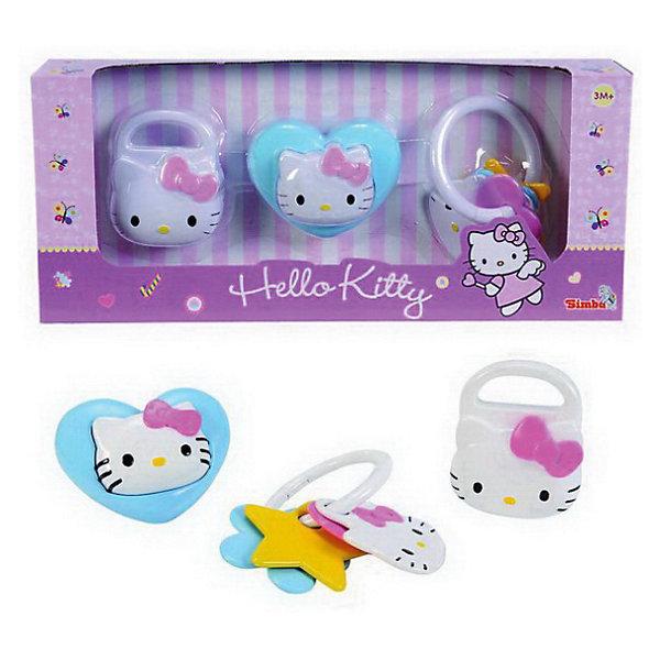 Hello Kitty Набор погремушекИгрушки для новорожденных<br>Набор погремушек Hello Kitty (Хелло Китти)  увлекут малыша и подарят  ему  хорошее настроение. В наборе 3 погремушки в бело-розовых тонах : в виде замка, связки ключей и сердечка. Все погремушки украшены логотипом кошечки  Hello Kitty. Погремушки также выполняют функцию прорезывателя для зубов<br><br>Дополнительная информация:<br><br>- Материал: пластик<br>- Размер игрушек: 8-10 см.<br>- Размер упаковки: 35 х 6 х 15 см.<br><br>Купить набор погремушек можно в нашем магазине.<br><br>Ширина мм: 350<br>Глубина мм: 60<br>Высота мм: 150<br>Вес г: 237<br>Возраст от месяцев: 3<br>Возраст до месяцев: 12<br>Пол: Женский<br>Возраст: Детский<br>SKU: 3246442