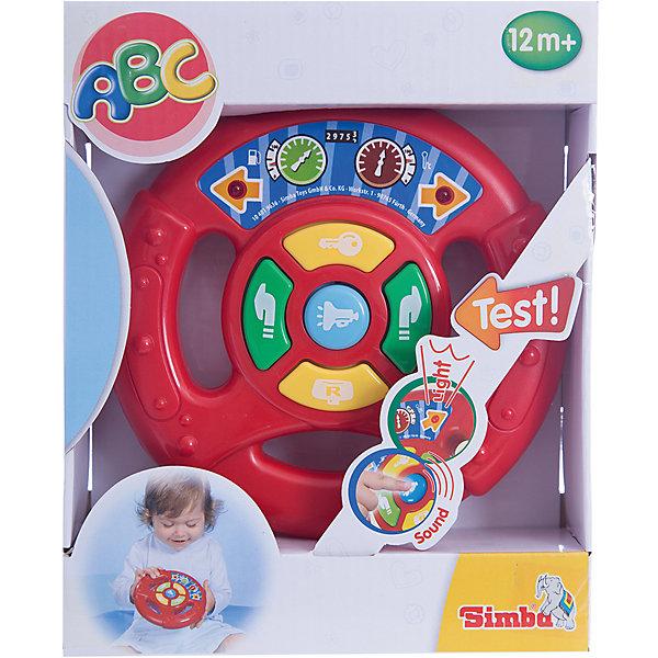 Simba Руль игровой, свет+звукДругие наборы<br>Руль от Simba красочная развивающая игрушка для самых маленьких автолюбителей. Автопутешествие малыша будет сопровождаться разнообразными световыми и звуковыми эффектами, которые не только развлекут ребенка но и будут способствовать его интеллектуальному развитию. При включении кнопки пуска раздается звук заводящейся машины, на панели руля также кнопки поворотов влево-вправо, заднего хода и автомобильного гудка. Звуки сопровождаются миганием красных огоньков на стрелках-указателях поворотов.<br><br>Дополнительная информация:<br><br>- Размер игрушки: 15,5 см.<br>- Размер упаковки: 21х17х6 см.<br>- Вес: 0,26 кг.<br><br>Купить руль можно в нашем магазине.<br>Ширина мм: 210; Глубина мм: 58; Высота мм: 170; Вес г: 300; Возраст от месяцев: 12; Возраст до месяцев: 36; Пол: Мужской; Возраст: Детский; SKU: 3246445;