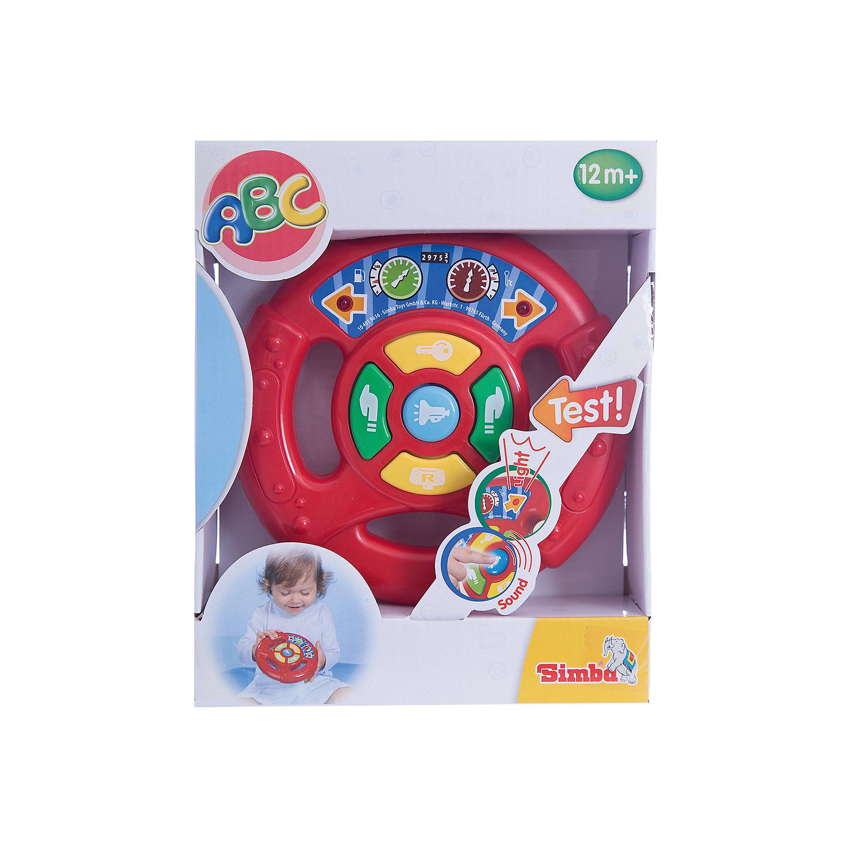 Simba Руль игровой, свет+звукИнтерактивные игрушки для малышей<br>Руль от Simba красочная развивающая игрушка для самых маленьких автолюбителей. Автопутешествие малыша будет сопровождаться разнообразными световыми и звуковыми эффектами, которые не только развлекут ребенка но и будут способствовать его интеллектуальному развитию. При включении кнопки пуска раздается звук заводящейся машины, на панели руля также кнопки поворотов влево-вправо, заднего хода и автомобильного гудка. Звуки сопровождаются миганием красных огоньков на стрелках-указателях поворотов.<br><br>Дополнительная информация:<br><br>- Размер игрушки: 15,5 см.<br>- Размер упаковки: 21х17х6 см.<br>- Вес: 0,26 кг.<br><br>Купить руль можно в нашем магазине.<br><br>Ширина мм: 210<br>Глубина мм: 58<br>Высота мм: 170<br>Вес г: 300<br>Возраст от месяцев: 12<br>Возраст до месяцев: 36<br>Пол: Мужской<br>Возраст: Детский<br>SKU: 3246445