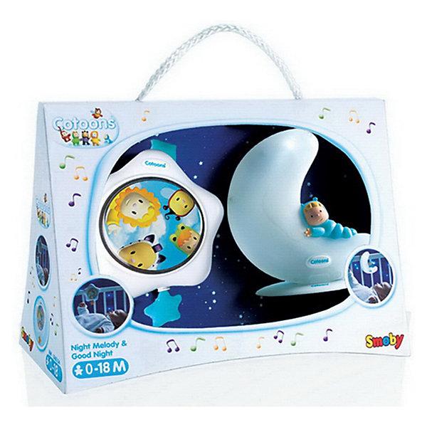Smoby Cotoons Набор: музыкальная  подвеска+ночничокИгрушки для новорожденных<br>Набор: музыкальная  подвеска + ночничок от Smoby Cotoons идеальный комплект в который входят два полезных предмета.<br><br>- Музыкальная игрушка для успокоения малыша:  нужно лишь потянуть за звездочку, чтобы услышать колыбельную. <br>- Волшебный ночничок в виде месяца, который может быть прикреплен к кровати с помощью ремешка или поставлен на полку(столик) с помощью специальной подставки. <br>Батарейки: 2 *ААА (в комплект не входят)<br> <br>Игрушки помогают развитию восприятия звуков, успокаивают и убаюкивают ребенка перед сном.<br><br>Ширина мм: 50<br>Глубина мм: 210<br>Высота мм: 280<br>Вес г: 225<br>Возраст от месяцев: 0<br>Возраст до месяцев: 12<br>Пол: Унисекс<br>Возраст: Детский<br>SKU: 3246463