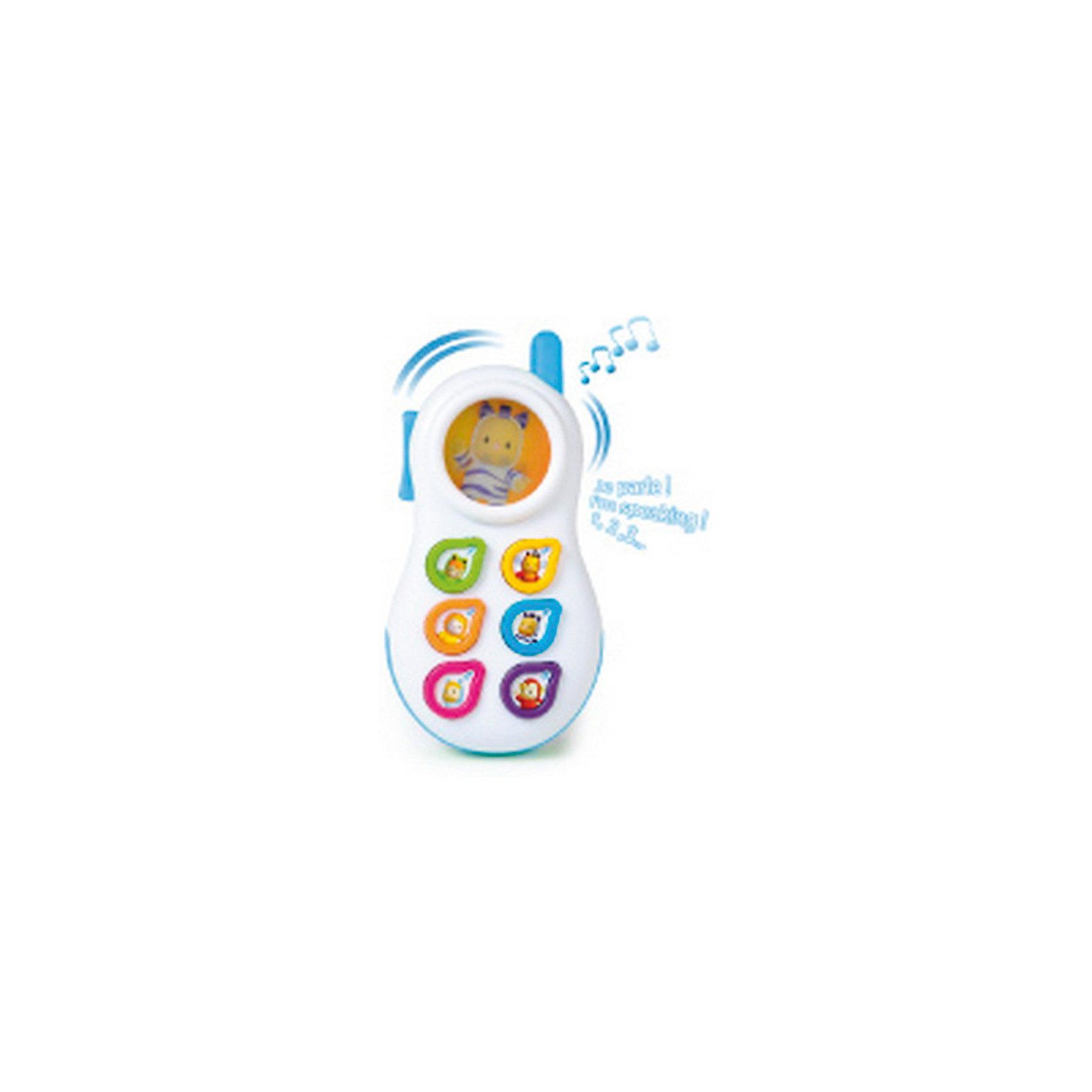 Smoby Cotoons Телефон со светом и звукомТелефон Smoby Cotoons - это игрушка со светом и звуком, которая может стать первым телефоном в жизни Вашего малыша. Форма телефона специально разработана так, чтобы его удобно было держать в маленьких ручках. Яркий, приятный на ощупь, выполненный из качественных материалов. Телефон на выбор предлагает 3 языка- русский, английский, китайский , так что малыш получит первое представление об иностранных языках и сможет запомнить несколько слов из них. Антенна телефона светится, ее можно использовать как прорезыватель. А на маленьком дисплее малыша приветствует Панки, который, то прячется, то выскакивает из укрытия (голограмма).  <br>Есть 6 кнопочек с цветной рамкой и изображением карапуза Котунс:<br> - кнопочка 1 с зеленой рамкой и изображением лягушонка Вабап;<br> - кнопочка 2 с желтой рамкой и портретом пчелки Зум;<br> - кнопочка 3 с оранжевой рамкой - львенок Тюлип;<br> - кнопочки 4 с синей рамкой - зебра Панки;<br> - кнопочка 5 с красной рамкой - гусеничка Чоувинг;<br> - кнопочка 6 с фиолетовой рамкой - обезьянка Моки;<br> при первом нажатии называется цифра, при втором - цвет, третьем - приветствие карапуза или забавный звук; <br>при отсутствии действий с игрушкой предусмотрено автоматическое отключение (примерно через 20 секунд): через некоторое время телефон сам звонит, приглашая малыша продолжить игру, затем говорит «Пока!» и отключается.<br>Телефон стимулирует развитие тактильных навыков и сенсорного восприятия. <br><br>Дополнительная информация:<br><br>- цвета : розовый, голубой<br>- материал: высококачественная пластмасса<br>- размер игрушки: 15х8х2 см.<br>- размер упаковки: 14х5х21 см.<br>- вес: 0,22 кг.<br><br>Телефон Smoby Cotoons можно купить в нашем интернет-магазине<br><br>Ширина мм: 140<br>Глубина мм: 50<br>Высота мм: 210<br>Вес г: 220<br>Возраст от месяцев: 6<br>Возраст до месяцев: 36<br>Пол: Унисекс<br>Возраст: Детский<br>SKU: 3246469