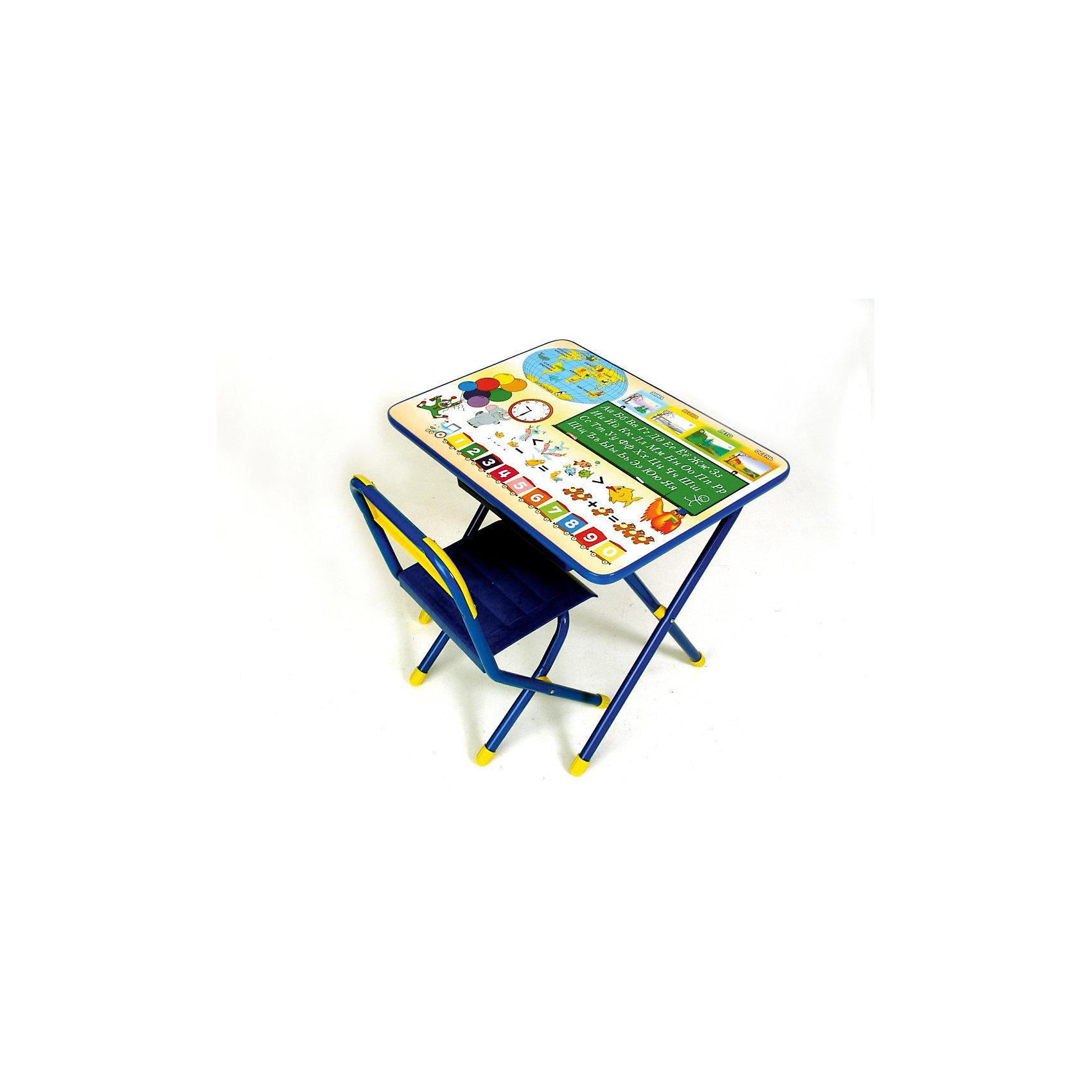 Набор мебели Глобус, Дэми, синийМебель<br>Набор предназначен для детей с 2 до 5 лет.<br><br>Набор состоит из стола и стульчика, и идеально подходит для организации детских игр и занятий, как в дошкольных учреждениях, так и для домашнего использования. <br><br>Поверхность столешницы ламинированная, ее легко мыть и чистить. На столешницу нанесен яркий, красивый обучающий рисунок, позволяющий Вашему ребенку познакомиться с миром букв и цифр. После занятий при необходимости его можно сложить и убрать, что позволяет использовать его даже в малогабаритных помещениях. <br>К набору прилагается небольшая пластиковая полочка-пенал для канцтоваров, которая крепится к столу.<br><br>Допустимая нагрузка на сиденье - не более 30 кг.<br>Размеры стола (ВШД): 52 х 45 х 60 см.<br>Высота сиденья: 30 см.<br><br>Ширина мм: 150<br>Глубина мм: 740<br>Высота мм: 640<br>Вес г: 8000<br>Возраст от месяцев: 24<br>Возраст до месяцев: 60<br>Пол: Мужской<br>Возраст: Детский<br>SKU: 3247870