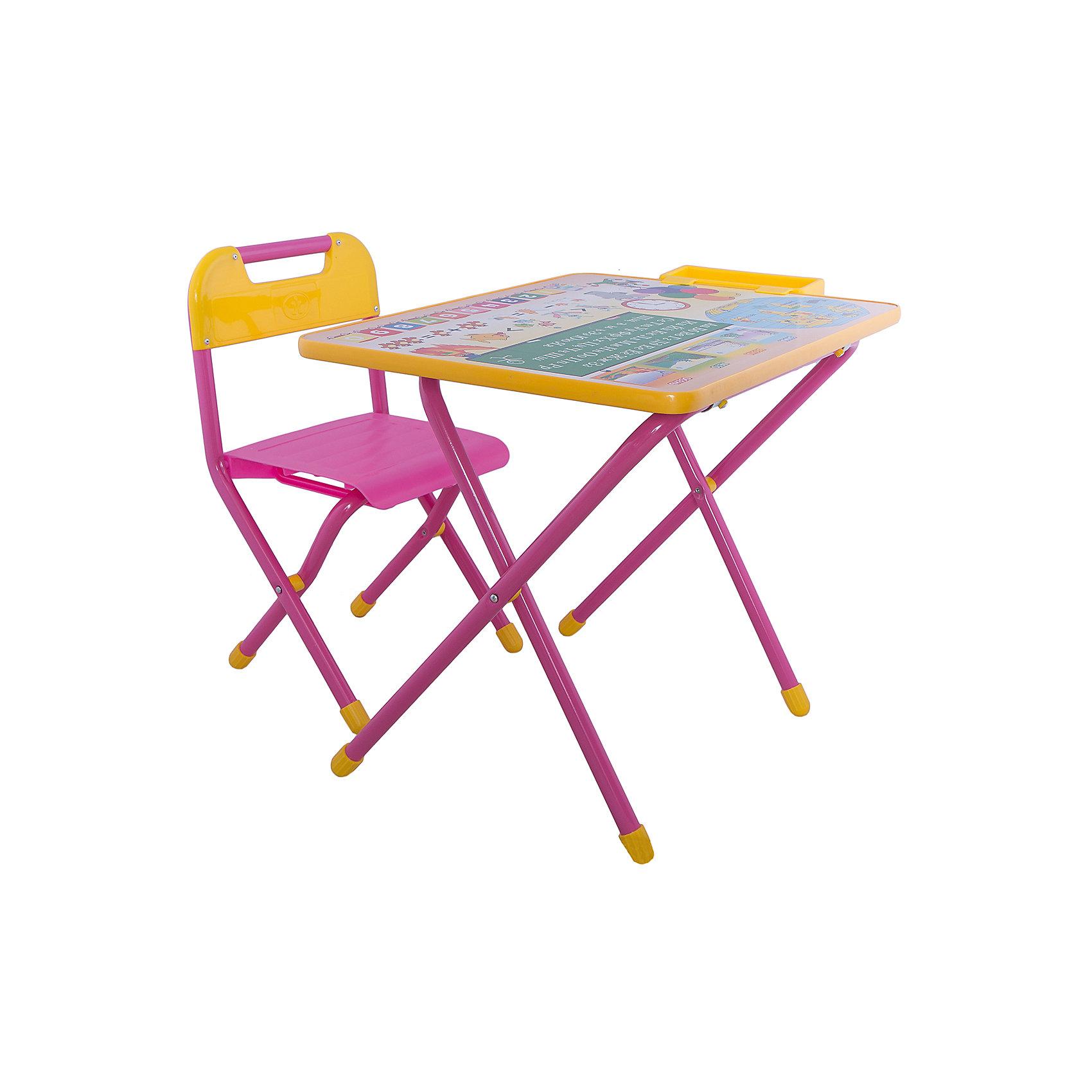 Розовый набор мебели Глобус (2-5 лет), ДэмиНабор предназначен для детей с 2 до 5 лет. Набор состоит из стола и стульчика, и идеально подходит для организации детских игр и занятий, как в дошкольных учреждениях, так и для домашнего использования. Выпускаются модели, рассчитанные на разные возрастные группы: размеры мебели соответствуют российскому ГОСТу (ростовка 2). Поверхность столешницы ламинированная, ее легко мыть и чистить. На столешницу нанесен яркий, красивый обучающий рисунок, позволяющий Вашему ребенку познакомиться с миром букв и цифр. После занятий при необходимости его можно сложить и убрать, что позволяет использовать его даже в малогабаритных помещениях. Размеры столешницы - 450Х600 мм. Высота до плоскости столешницы - 460 мм. Высота по сиденью - 260 мм. Высота верхнего края спинки - 240 мм. Допустимая нагрузка на сиденье - не более 30 кг.<br><br>Ширина мм: 150<br>Глубина мм: 740<br>Высота мм: 640<br>Вес г: 8000<br>Возраст от месяцев: 24<br>Возраст до месяцев: 60<br>Пол: Женский<br>Возраст: Детский<br>SKU: 3247873