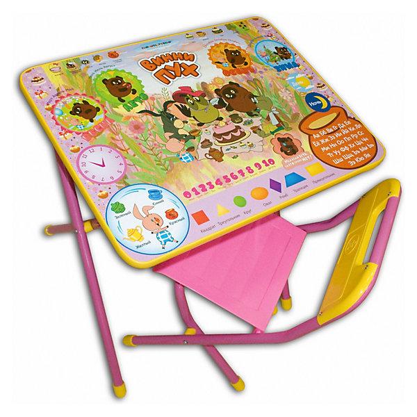 Набор мебели Винни-Пух (3-7 лет), Дэми, розовыйВинни-Пух<br>Набор предназначен для детей с 3 до 7 лет. Набор состоит из стола и стульчика, и идеально подходит для организации детских игр и занятий, как в дошкольных учреждениях, так и для домашнего использования. Стол оснащен маленьким пеналом для ручек и карандашей, а также большим, вместительным ящиком для альбомов, книг и прочего.<br><br>Поверхность столешницы ламинированная, с любимыми героями союзмультфильма, ее легко мыть и чистить. На столешницу нанесен яркий, красивый обучающий рисунок, позволяющий Вашему ребенку познакомиться с миром букв и цифр. После занятий при необходимости его можно сложить и убрать, что позволяет использовать его даже в малогабаритных помещениях. <br><br>Размеры столешницы - 450Х600 мм. <br>Высота до плоскости столешницы - 460 мм. <br>Высота по сиденью - 260 мм. <br>Высота верхнего края спинки - 240 мм. <br>Допустимая нагрузка на сиденье - не более 30 кг.<br>Ширина мм: 150; Глубина мм: 770; Высота мм: 730; Вес г: 8600; Возраст от месяцев: 36; Возраст до месяцев: 84; Пол: Женский; Возраст: Детский; SKU: 3247879;