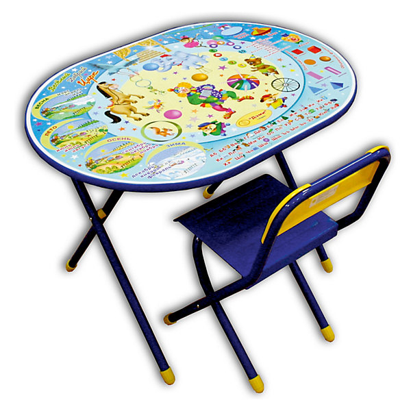 Набор мебели Цирк (3-7 лет), Дэми, синийДетские столы и стулья<br>Набор состоит из стола и стульчика, и идеально подходит для организации детских игр и занятий, как в дошкольных учреждениях, так и для домашнего использования. <br>Поверхность столешницы ламинированная, ее легко мыть и чистить. На столешницу нанесен яркий, красивый обучающий рисунок, позволяющий Вашему ребенку познакомиться с миром букв и цифр. После занятий при необходимости его можно сложить и убрать, что позволяет использовать его даже в малогабаритных помещениях. <br>Овальный стол - очень красивый, качественный, современный и прежде всего безопасный для ребенка (отсутствие углов), с новыми картинками на столешнице, имеет большую рабочую поверхность, подходит для использования двумя детьми! <br><br>Дополнительная информация:<br><br>- Предназначена для детей ростом 130-145 см<br>- Допустимая нагрузка на сиденье - не более 30 кг.<br>- Размеры столешницы - 450x600 мм.<br>- Высота до плоскости столешницы овал - 580 мм.<br>- Высота по сиденью овал - 340 мм.<br>- Высота верхнего края спинки овал - 265 мм.<br><br>Школьню парту со стулом Цирк ДЭМИ можно купить в нашем магазине.<br>Ширина мм: 150; Глубина мм: 800; Высота мм: 800; Вес г: 10000; Возраст от месяцев: 36; Возраст до месяцев: 84; Пол: Мужской; Возраст: Детский; SKU: 3247883;