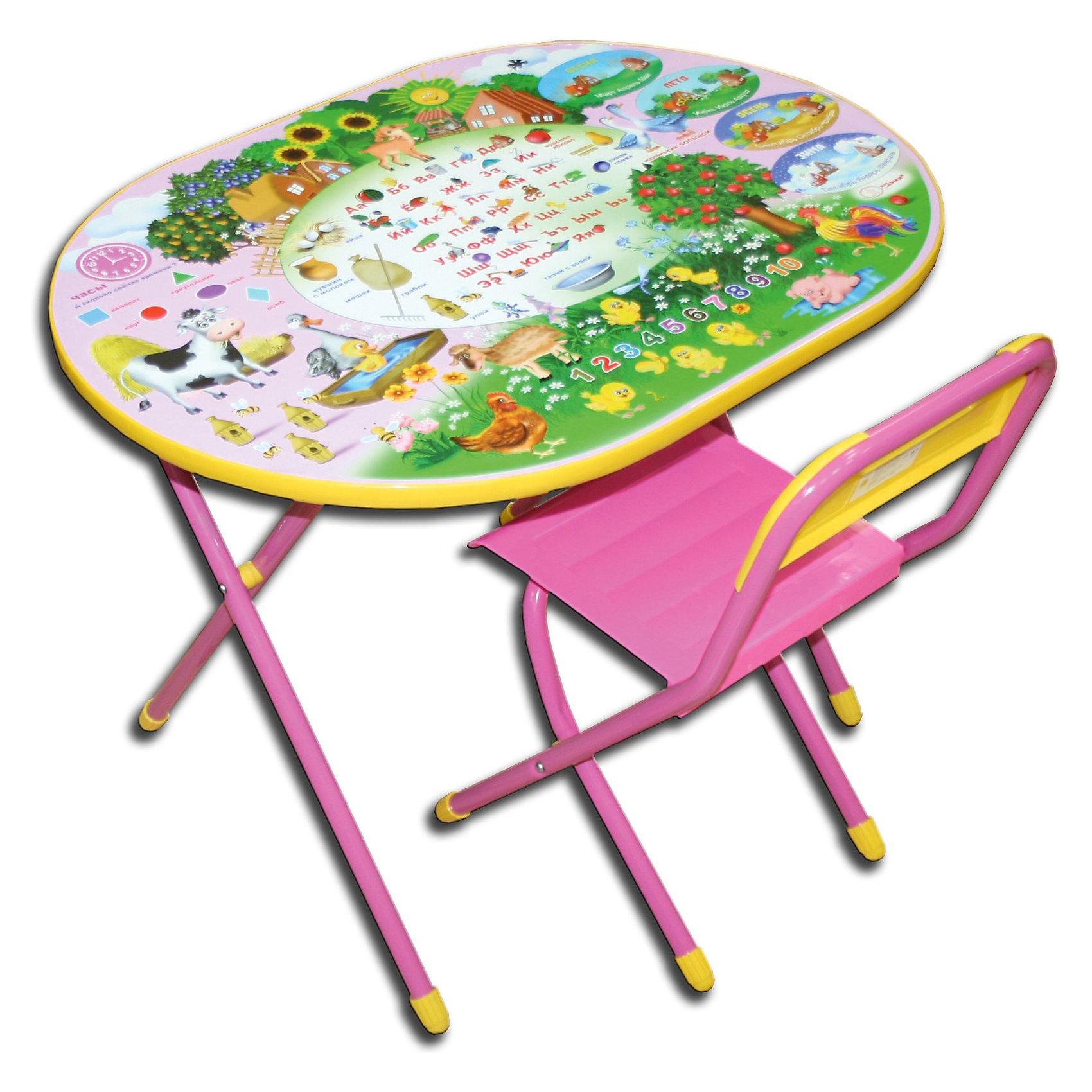 Набор мебели Веселая ферма (овал, 3-7 лет), Дэми, розовыйМебель<br>Набор предназначен для детей с 3 до 7 лет. Набор состоит из стола и стульчика, и идеально подходит для организации детских игр и занятий, как в дошкольных учреждениях, так и для домашнего использования. <br><br>Поверхность столешницы ламинированная, ее легко мыть и чистить. На столешницу нанесен яркий, красивый обучающий рисунок, позволяющий Вашему ребенку познакомиться с миром букв и цифр. После занятий при необходимости его можно сложить и убрать, что позволяет использовать его даже в малогабаритных помещениях. <br>Овальный стол - очень красивый, качественный, современный и прежде всего безопасный для ребенка (отсутствие углов), с новыми картинками на столешнице, имеет большую рабочую поверхность, подходит для использования двумя детьми!<br><br>Дополнительная информация:<br><br>- Предназначена для детей ростом 130-145 см<br>- Допустимая нагрузка на сиденье - не более 30 кг.<br>- Размеры столешницы - 450x600 мм.<br>- Высота до плоскости столешницы овал - 580 мм.<br>- Высота по сиденью овал - 340 мм.<br>- Высота верхнего края спинки овал - 265 мм.<br><br>Школьную парту со стулом Ферма ДЭМИ (цвет: розовый, форма: овал) можно купить в нашем магазине.<br><br>Ширина мм: 150<br>Глубина мм: 800<br>Высота мм: 800<br>Вес г: 10000<br>Возраст от месяцев: 36<br>Возраст до месяцев: 84<br>Пол: Женский<br>Возраст: Детский<br>SKU: 3247884