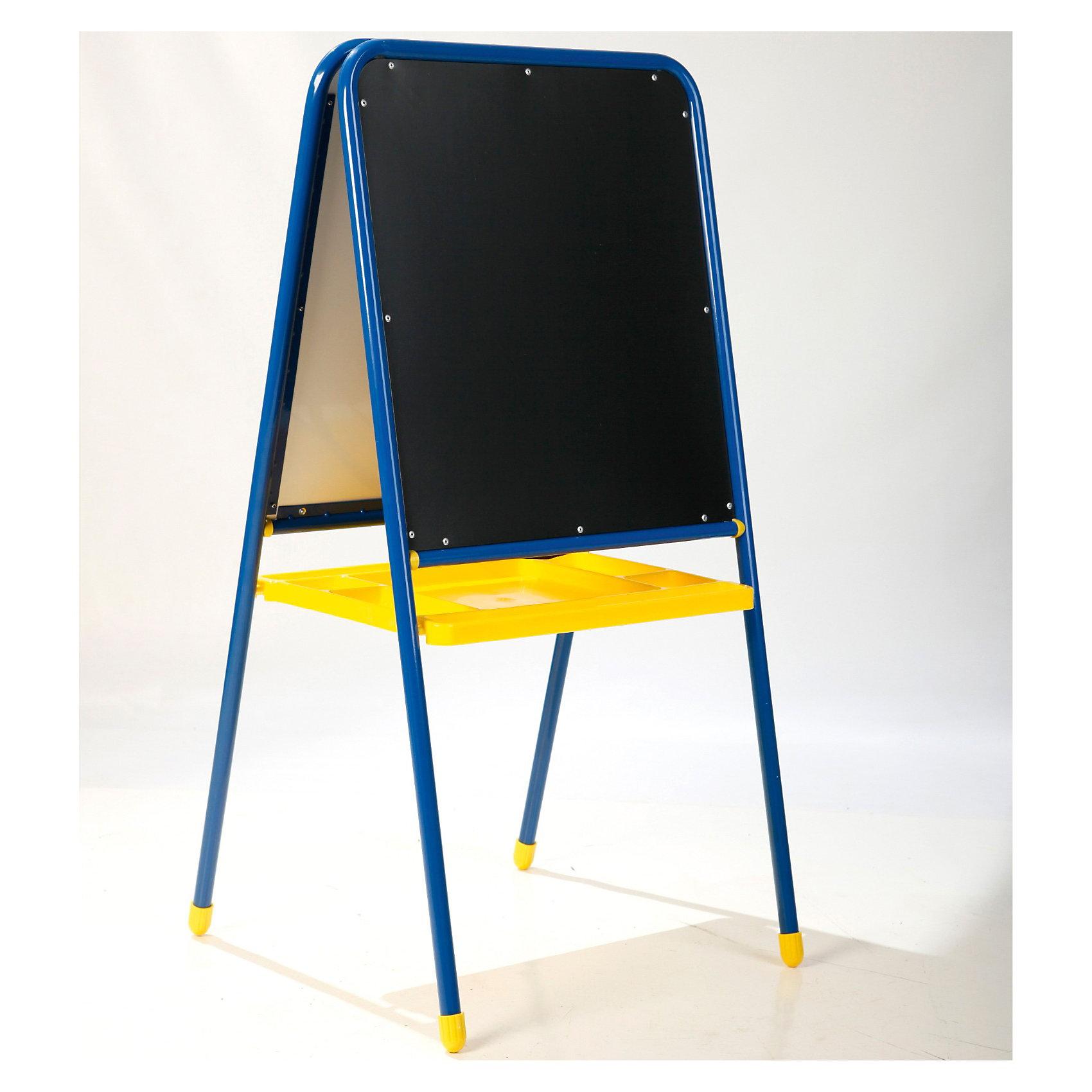 Мольберт 2-сторонний с буквами, Дэми (цвет: синий)Мебель<br>Мольберт «Дэми» 2-х сторонний на ножках для рисования мелом, маркерами ,красками (с магнитной азбукой) и большим лотком.<br>Мольберт отлично подойдет для творческого развития ребенка.  Доски для рисования мелом и маркером позволят проявить фантазию. Кроме того, обе доски - магнитные, а значит малыш скорее научиться читать и составлять слова.<br><br>Дополнительная информация:<br>Модель: МДУ.06<br>Размер досок – 48х53 см.<br>Высота досок от земли – 50 см.<br>Расстояние между ножками стоящего мольберта – 50 см.<br>Свойства / особенности - складной<br>Габариты: 57 х 110 х 7 см.<br>Вес: 7 кг. <br><br>Мольберт детский универсальный 2-х сторонний с буквами МДУ.06 можно купить в нашем магазине.<br><br>Ширина мм: 70<br>Глубина мм: 112<br>Высота мм: 540<br>Вес г: 9000<br>Возраст от месяцев: 24<br>Возраст до месяцев: 84<br>Пол: Мужской<br>Возраст: Детский<br>SKU: 3247889