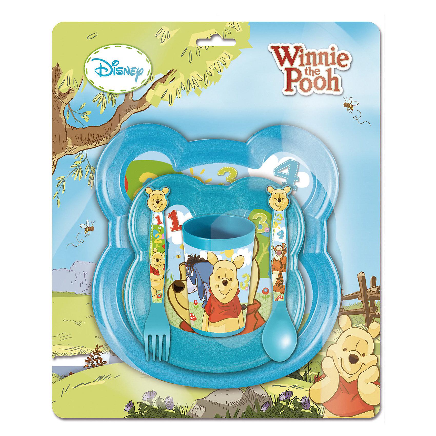 Набор посуды (5 предметов), Винни ПухОригинальная яркая детская посуда с  изображением любимых диснеевских героев непременно порадует Вашего малыша и Вам не придется уговаривать его покушать: теперь это его любимое занятие!<br><br>Дополнительная информация:<br><br>В набор входит: миска + тарелка + ложка + вилка + стакан.<br>Диаметр: 16 см.<br>Посуда пластиковая.<br><br>Набор создаст незабываемую атмосферу праздника!<br><br>Ширина мм: 190<br>Глубина мм: 230<br>Высота мм: 100<br>Вес г: 350<br>Возраст от месяцев: 36<br>Возраст до месяцев: 156<br>Пол: Унисекс<br>Возраст: Детский<br>SKU: 3248301