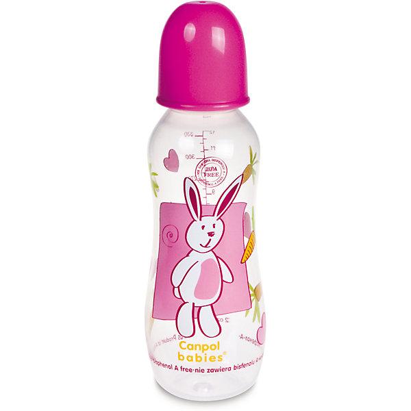 Бутылочка, от 0 мес., 330 мл., Canpol Babies, розовый300 - 380 мл.<br>Бутылочка PP (BPA 0%) с сил. соской, 330 мл. 12+, Canpol Babies (Канпол Бейби), розовый<br><br>Характеристики: <br><br>• Объем бутылочки: 330 мл.<br>• Материал бутылочки: полипропилен.<br>• Материал соски: силикон. <br><br>Легкая бутылочка позволяет удобно держать ее во время кормления. Долговечная, безопасная бутылочка из тритана с мерной шкалой соответствует самым высоким стандартам качества. Забавный принт на бутылочке безусловно привлечет внимание вашего малыша. Можно стерилизовать разными способами: в кипящей воде или в паровом стерилизаторе. Бутылочка оснащена герметичным диском, который преобразует бутылочку в контейнер для хранения/замораживания продуктов питания, а также жесткой закручивающейся крышкой, которая не даст жидкости разлиться во время прогулок. Бутылочка выполнена из высококачественно и безопасного материла, не содержит Бисфенол - А (0% BPA).<br><br>Бутылочку PP (BPA 0%) с сил. соской, 330 мл. 12+, Canpol Babies (Канпол Бейби), розовый- можно купить в нашем интернет- магазине.<br>Ширина мм: 65; Глубина мм: 65; Высота мм: 210; Вес г: 67; Цвет: розовый; Возраст от месяцев: 0; Возраст до месяцев: 36; Пол: Унисекс; Возраст: Детский; SKU: 3260449;