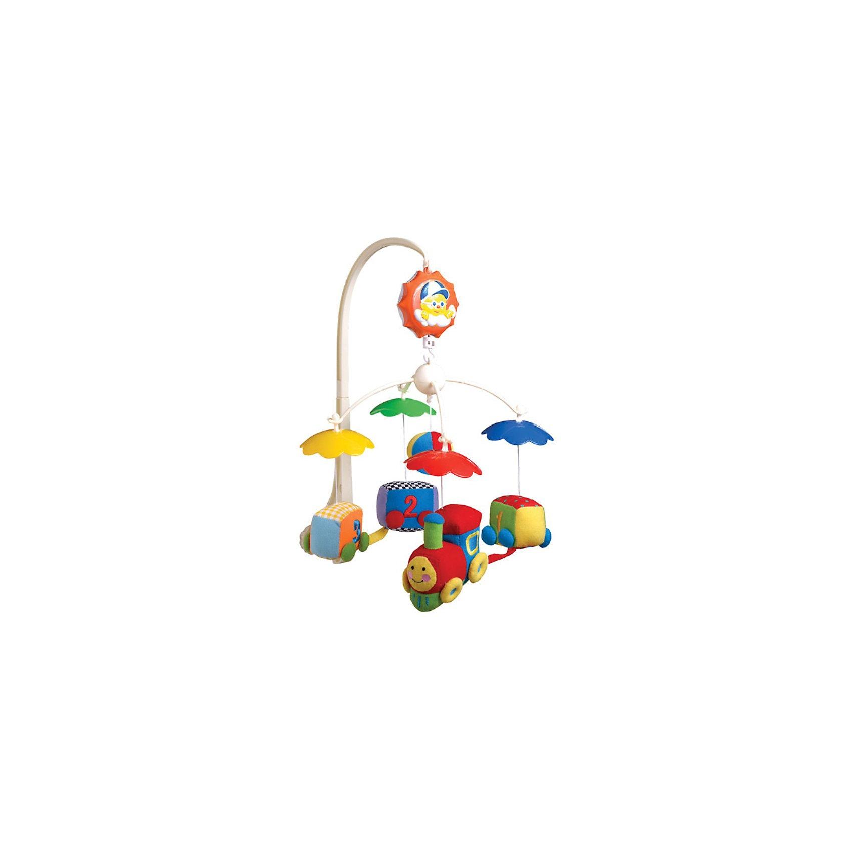 Музыкальный мякгий мобиль Паровозик, Canpol BabiesМузыкальная мягкая игрушка-карусель Паровозик Canpol Babies (Канпол Бэйбиз) крепится на кроватку.<br><br>Красочные мягкие игрушки крутятся, тем самым помогая малышу научиться фокусировать зрение. Если завести музыкальную коробочку, то карусель придет в движение и зазвучит приятная музыка (батарейки не требуются). Приятная мелодия сможет успокоить ребенка и помочь быстрее и крепче заснуть. Каждую из игрушек можно отстегнуть и дать ребенку познакомиться с ними поближе.<br><br>Дополнительная информация:<br><br>- Размеры упаковки: 8 х 37,3 х 31 см.<br>- Игрушки можно стирать согласно инструкции. <br><br>Музыкальную мягкую игрушку-карусель Паровозик Canpol Babies можно купить в нашем интернет-магазине.<br><br>Ширина мм: 80<br>Глубина мм: 373<br>Высота мм: 310<br>Вес г: 661<br>Возраст от месяцев: 0<br>Возраст до месяцев: 36<br>Пол: Унисекс<br>Возраст: Детский<br>SKU: 3260489