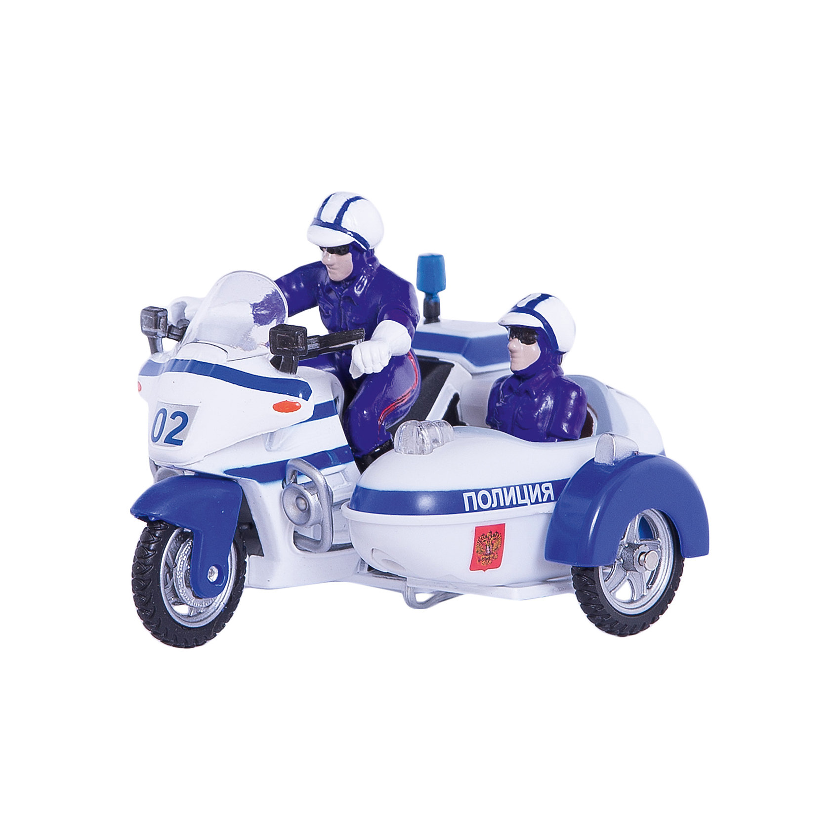 ТЕХНОПАРК ТЕХНОПАРК Мотоцикл Милиция/Полиция с люлькой,  свет+звук технопарк мотоцикл с люлькой военные силы инерц свет звук технопарк