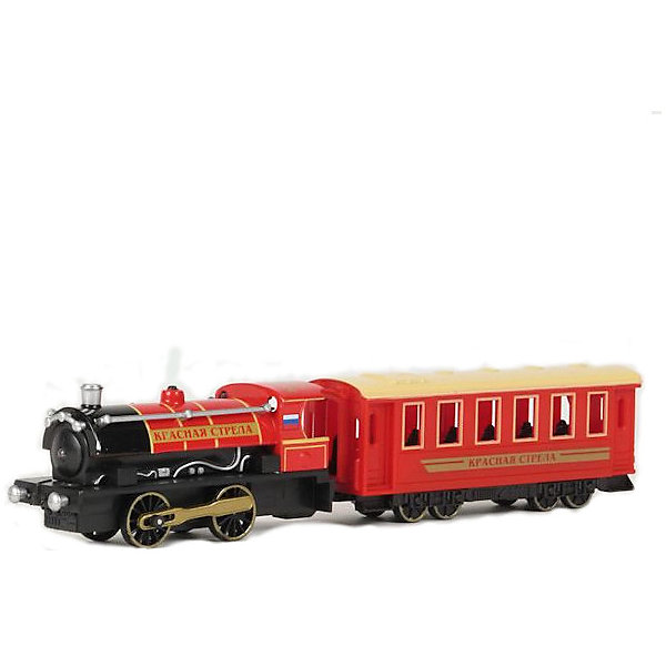 Инерционный поезд с вагоном Технопарк Красная стрелаЖелезные дороги<br>Интересная инерционная игрушка - реалистичная копия настоящего поезда. Со световыми и звуковыми эффектами  и отсоединяемым вагоном, этот паровоз наверняка понравится всем  любителям железных дорог.<br><br>ТЕХНОПАРК - российский бренд, под которым разрабатываются и выпускаются качественные современные игрушки для мальчиков.  Прежде всего, это копии моделей реальных технических средств: автомобилей, самолетов и вертолетов, военной и гражданской техники. Довольно часто - это игрушки с звуковыми и световыми эффектами и разнообразными подвижнымиэлементами. Тщательная проработка каждой детали этих игрушек позволяет говорить о них также как о ценных моделях, которые могут занять достойное место на полках коллекционеров. <br><br>Дополнительная информация:<br><br>- Инерционный механизм.<br>- Отсоеденяемый вагон. <br>- Свет и звук. (от батареек)<br>- Материал: металл.<br>- Размеры: 36х8х4 см<br><br>ТЕХНОПАРК Поезд с вагоном,  свет+звук можно купить в нашем магазине.<br><br>Ширина мм: 40<br>Глубина мм: 360<br>Высота мм: 240<br>Вес г: 340<br>Возраст от месяцев: 18<br>Возраст до месяцев: 1188<br>Пол: Мужской<br>Возраст: Детский<br>SKU: 3261691