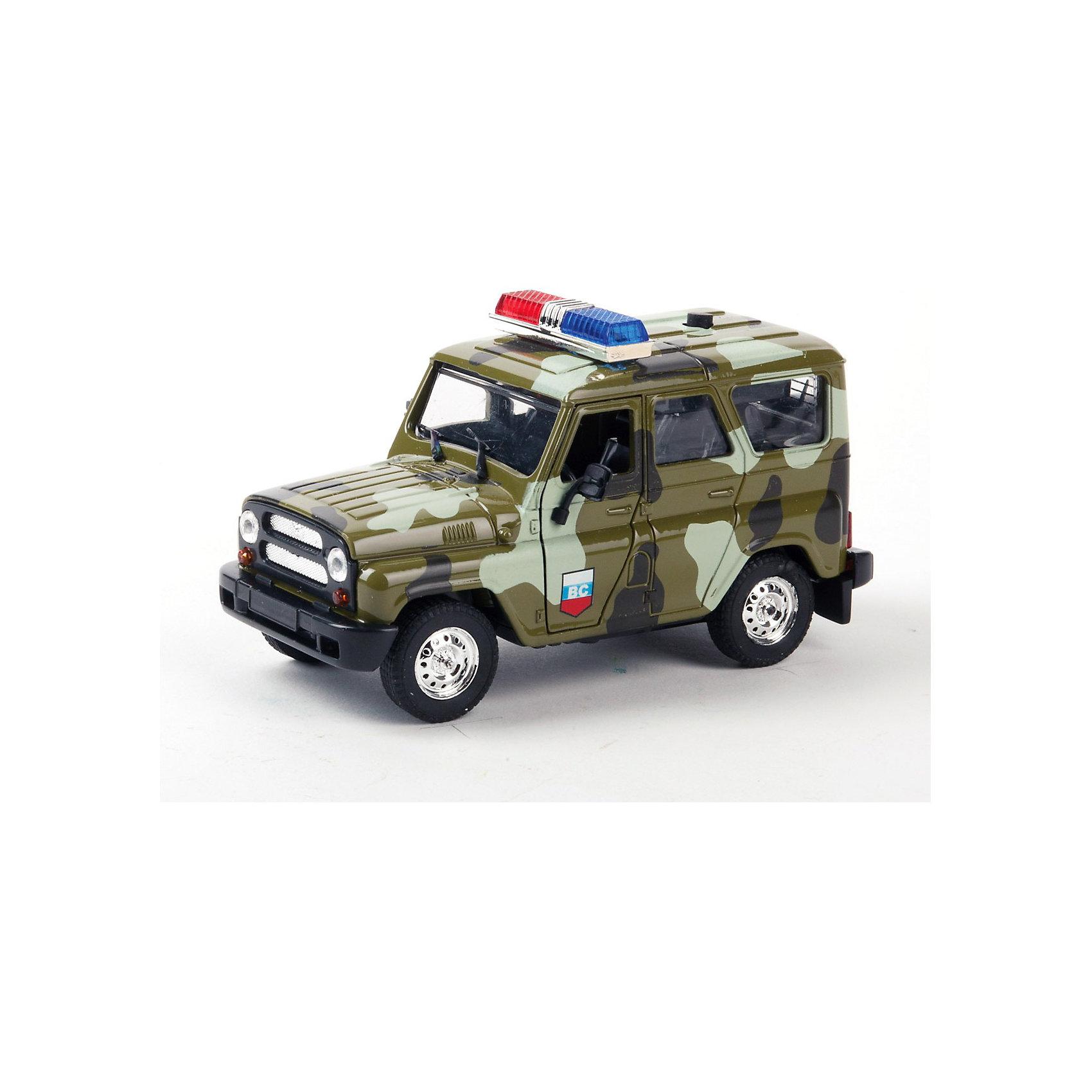 ТЕХНОПАРК Машина УАЗ hunter военная, с сиреной и мигалкамиВоенный транспорт<br>Интересная инерционная игрушка - реалистичная копия настоящего военного джипа УАЗ hunter . C  сиреной, мигалками (световыми и звуковыми эффектами) и с открывающимися (подвижными) элементами, этот автомобиль наверняка понравится Вашему ребенку.<br><br>ТЕХНОПАРК - российский бренд, под которым разрабатываются и выпускаются качественные современные игрушки для мальчиков.  Прежде всего, это копии моделей реальных технических средств: автомобилей, самолетов и вертолетов, военной и гражданской техники. Довольно часто - это игрушки с звуковыми и световыми эффектами и разнообразными подвижнымиэлементами. Тщательная проработка каждой детали этих игрушек позволяет говорить о них также как о ценных моделях, которые могут занять достойное место на полках коллекционеров. <br><br>Дополнительная информация:<br><br>- Инерционный механизм,  открываются багажник и  передние двери.<br>- Свет и звук.<br><br>Ширина мм: 70<br>Глубина мм: 80<br>Высота мм: 140<br>Вес г: 240<br>Возраст от месяцев: 18<br>Возраст до месяцев: 1188<br>Пол: Мужской<br>Возраст: Детский<br>SKU: 3261694